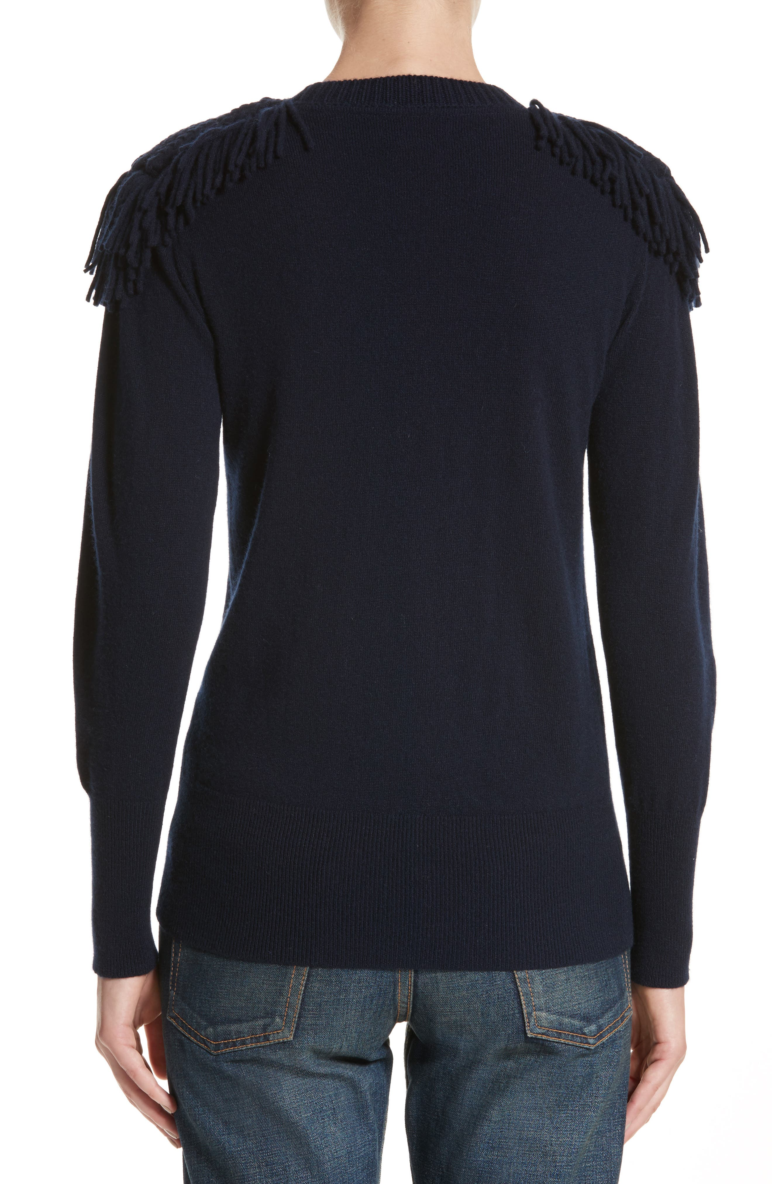 Alternate Image 2  - Burberry Livenza Wool & Cashmere Fringe Sweater