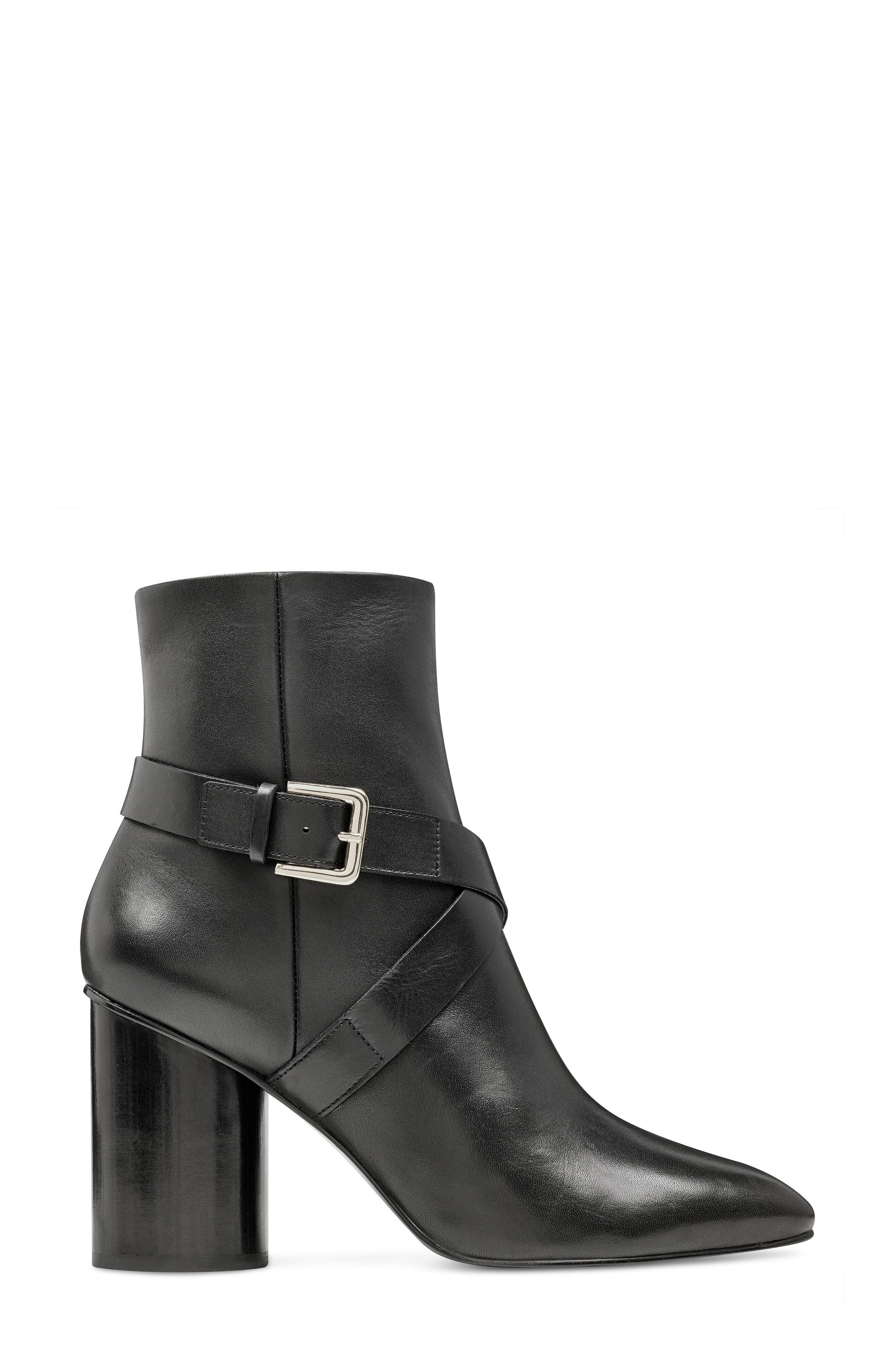 Cavanagh Pointy Toe Bootie,                             Alternate thumbnail 3, color,                             Black Leather