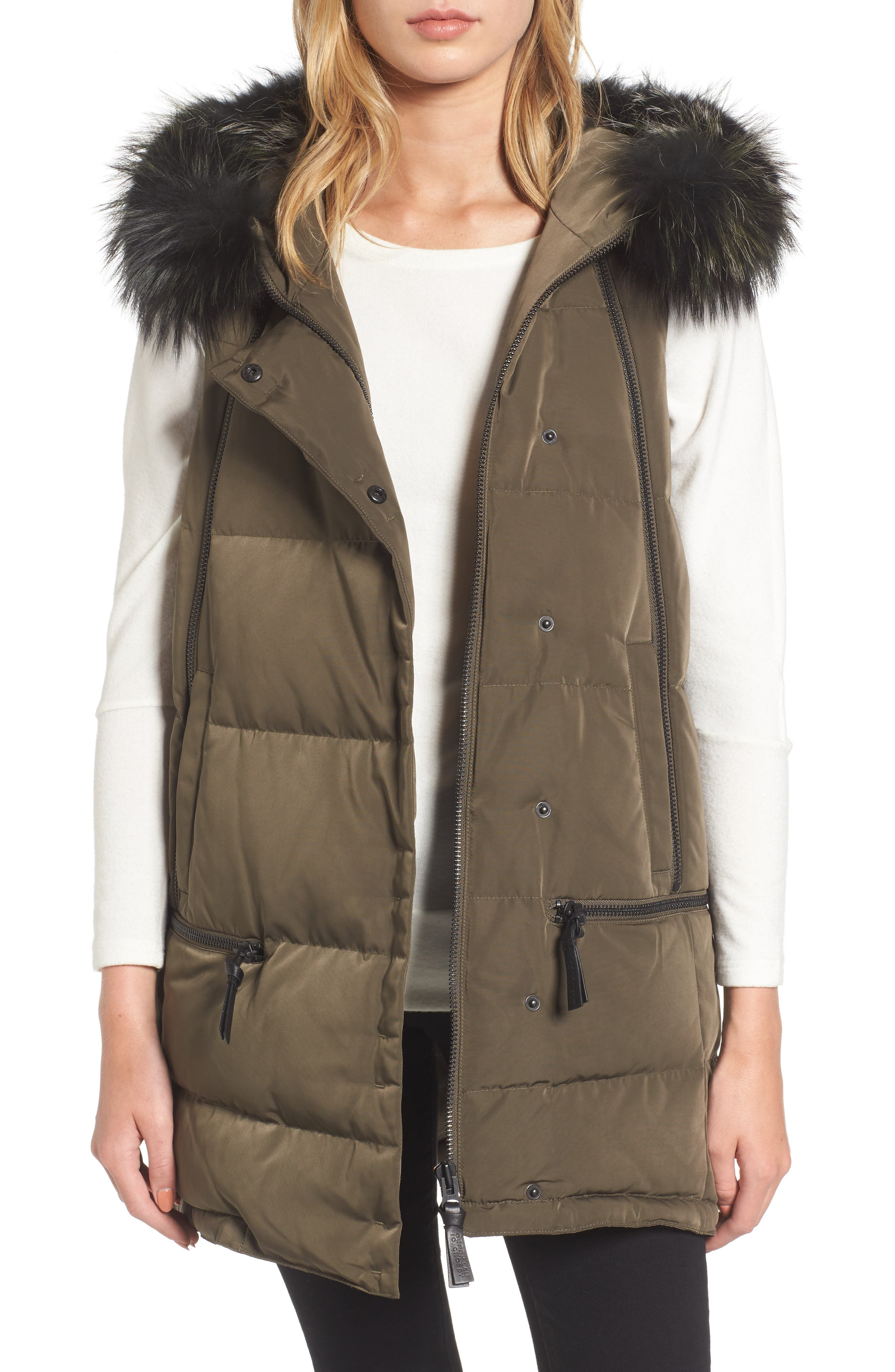 Vest with Genuine Fox Fur,                         Main,                         color, Loden
