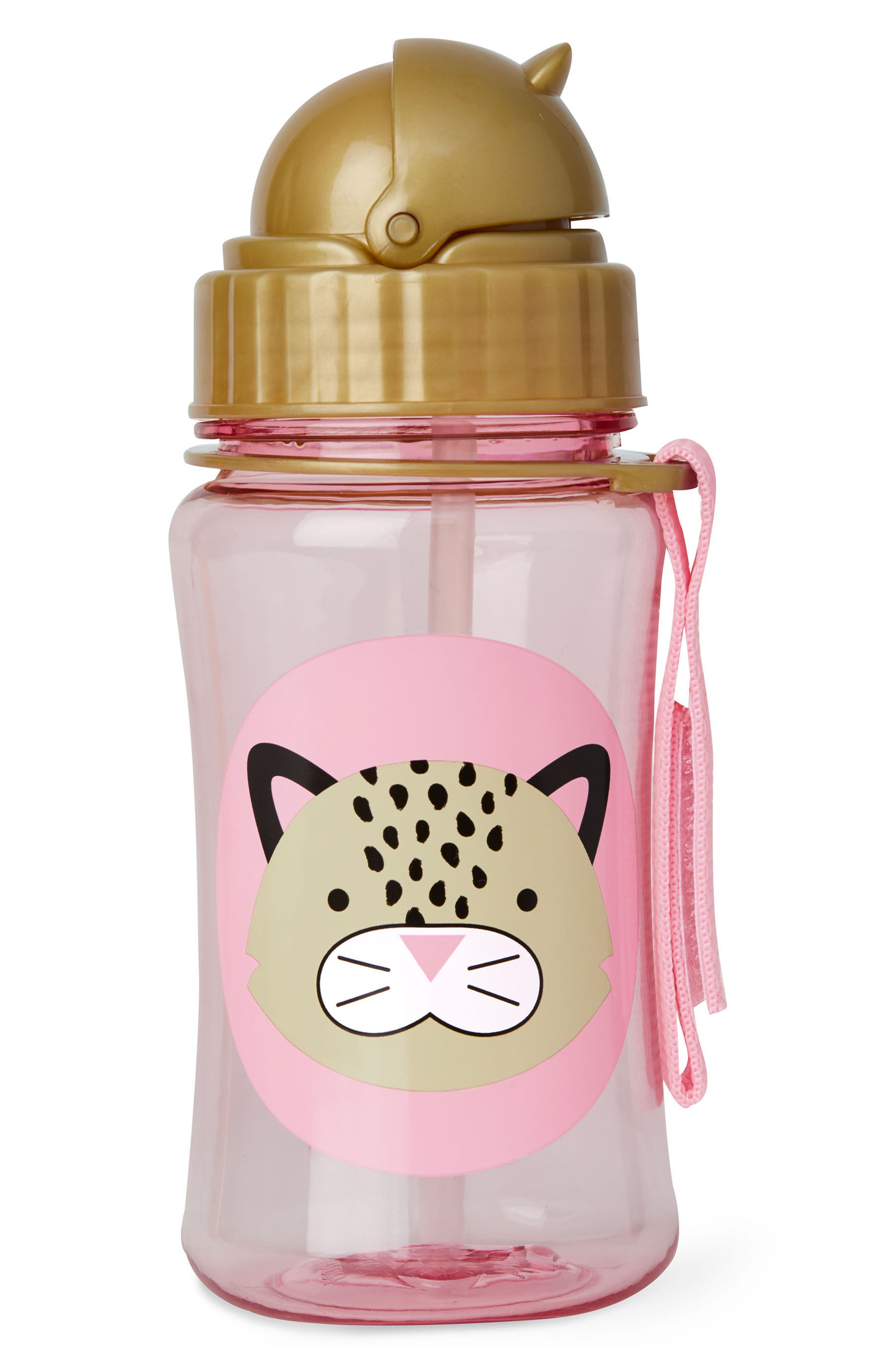 Leopard Zoo Straw Bottle,                             Main thumbnail 1, color,                             Brown/ Pink