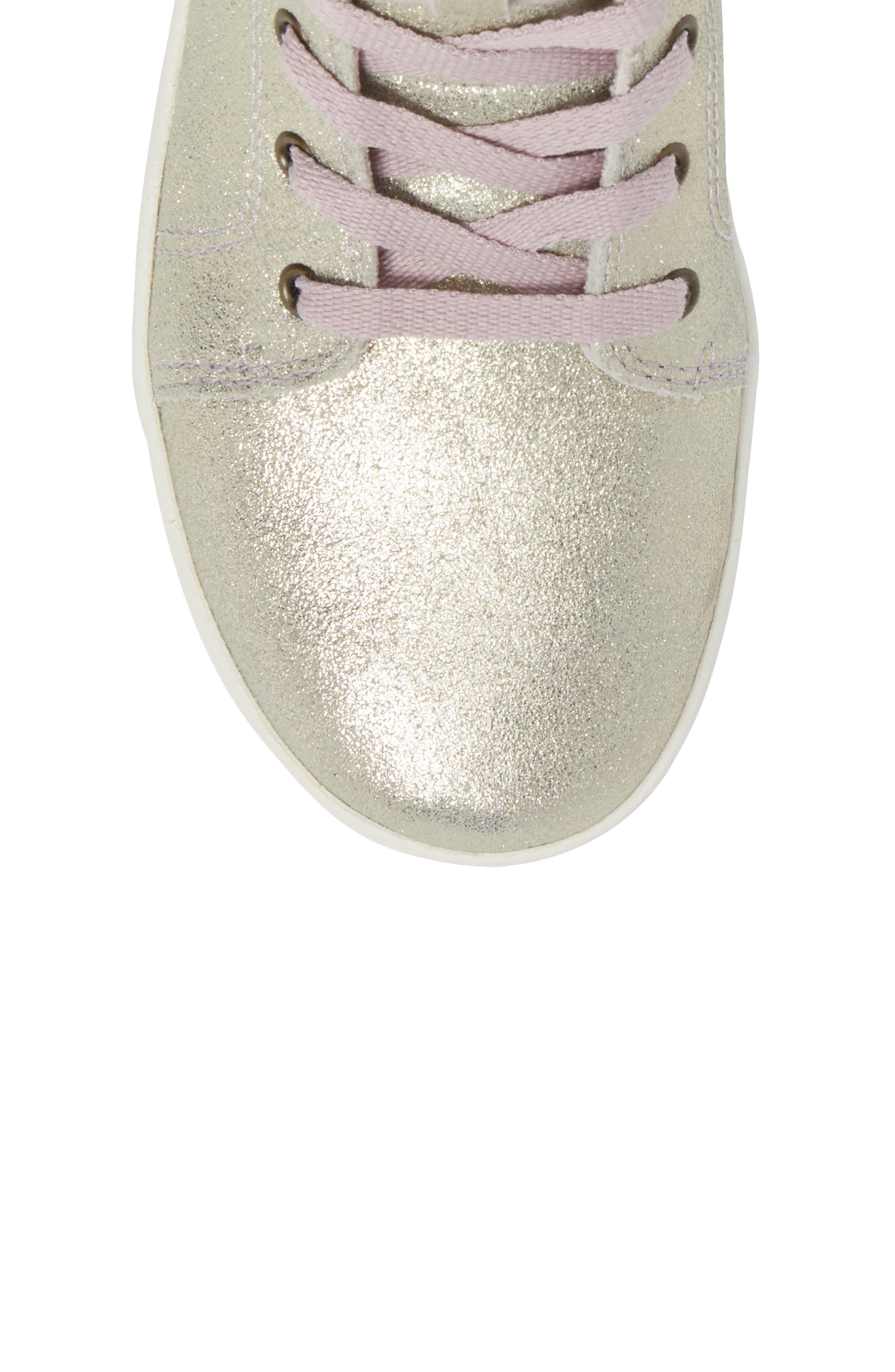 Schyler Metallic High Top Sneaker,                             Alternate thumbnail 5, color,                             Gold