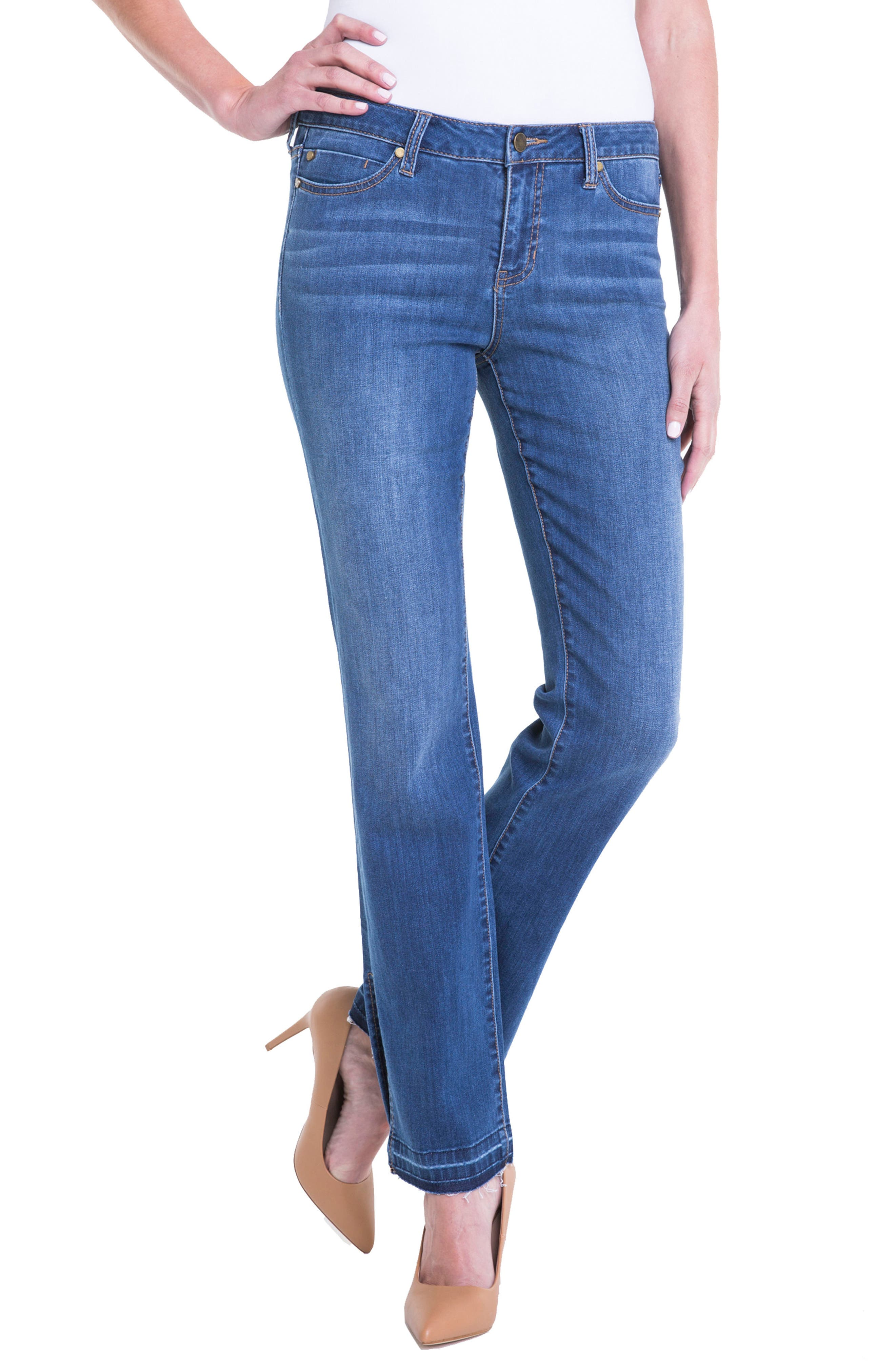 Alternate Image 4  - Liverpool Jeans Company Tabitha Release Hem Straight Leg Jeans (Montauck Mid)