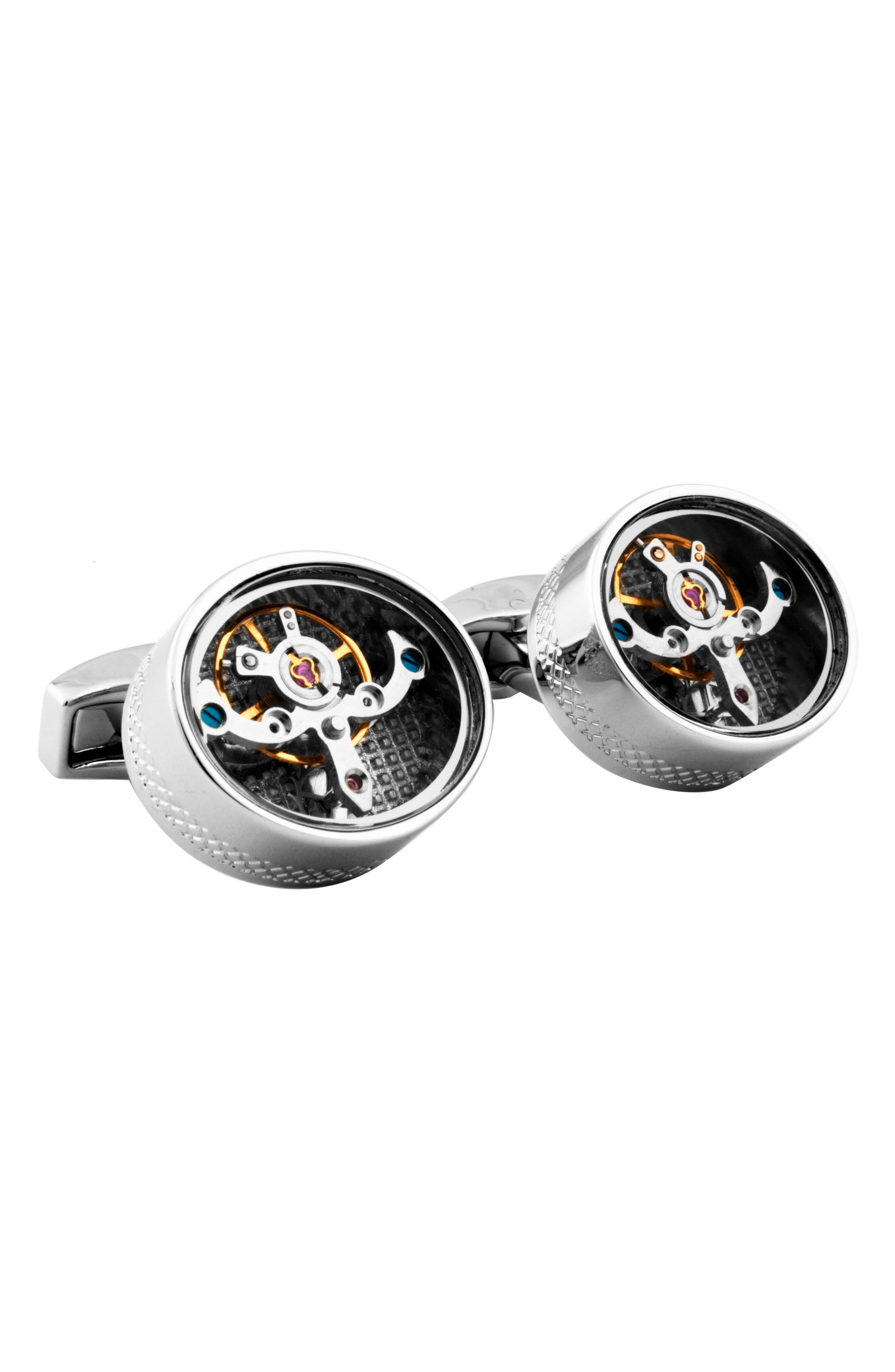 Mechanical Tourbillon Cuff Links,                         Main,                         color, Silver