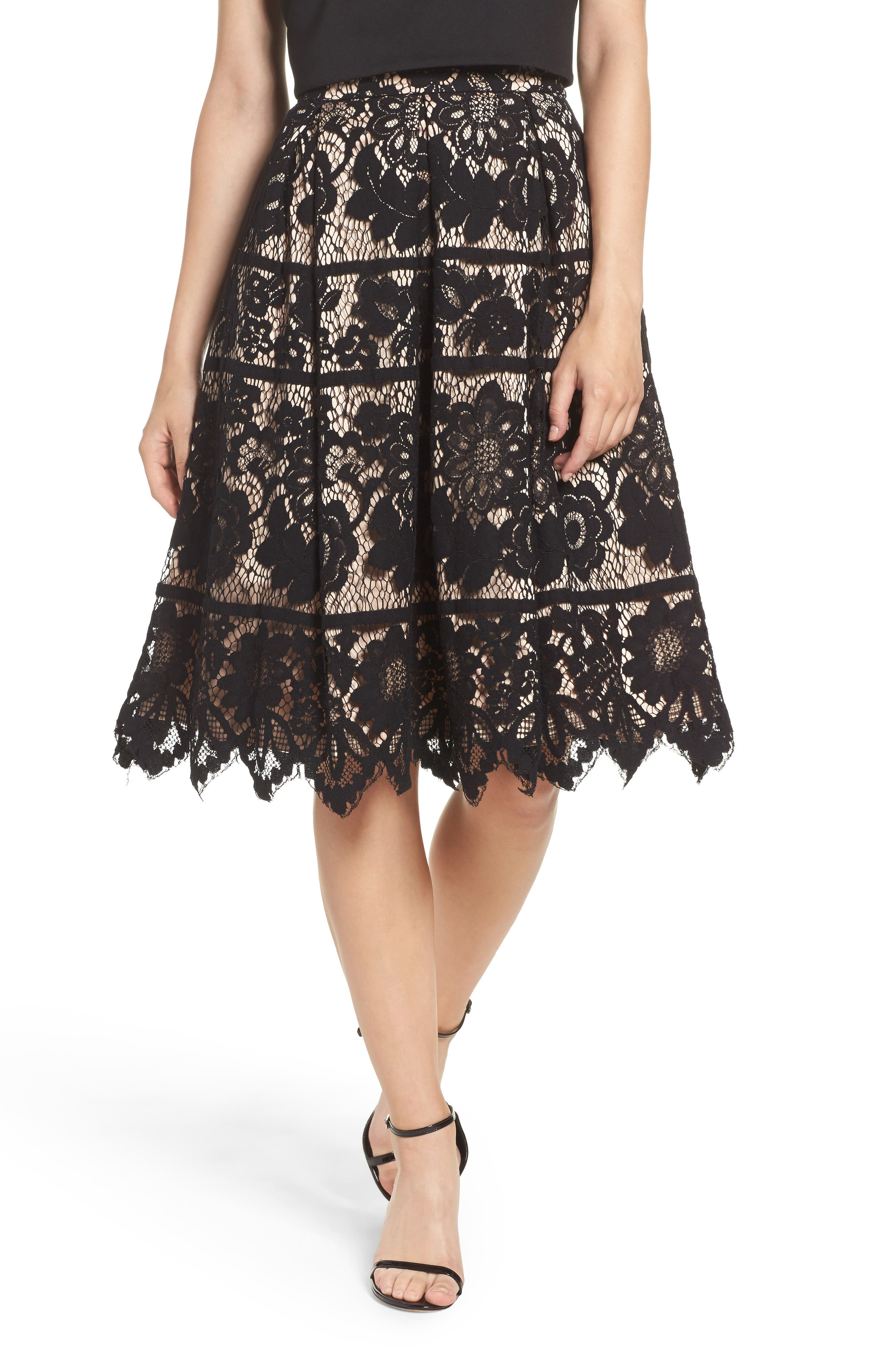 Pleated Lace Skirt,                         Main,                         color, Black/ Nude