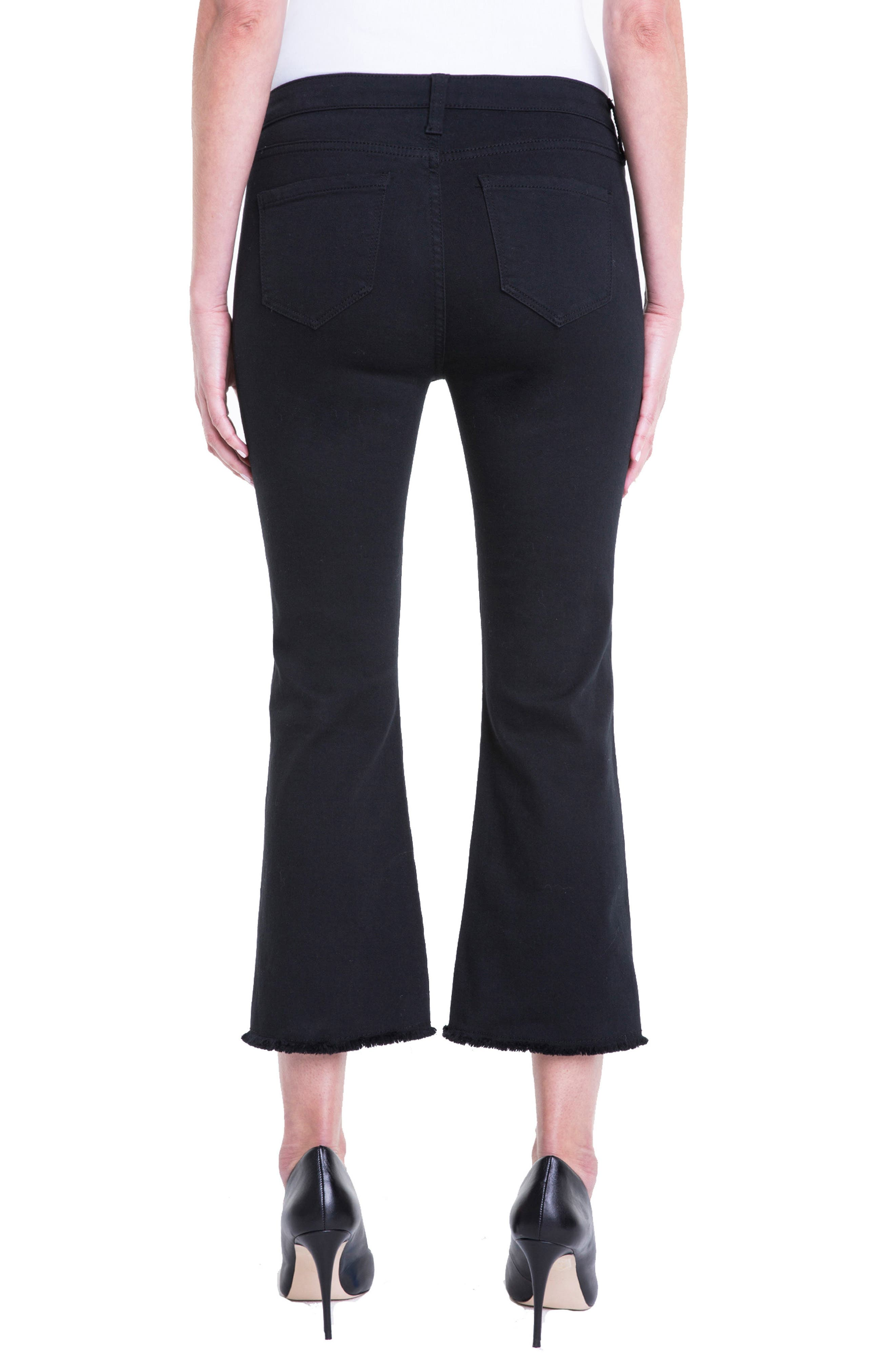 Hannah Crop Flare Jeans,                             Alternate thumbnail 3, color,                             Black Rinse