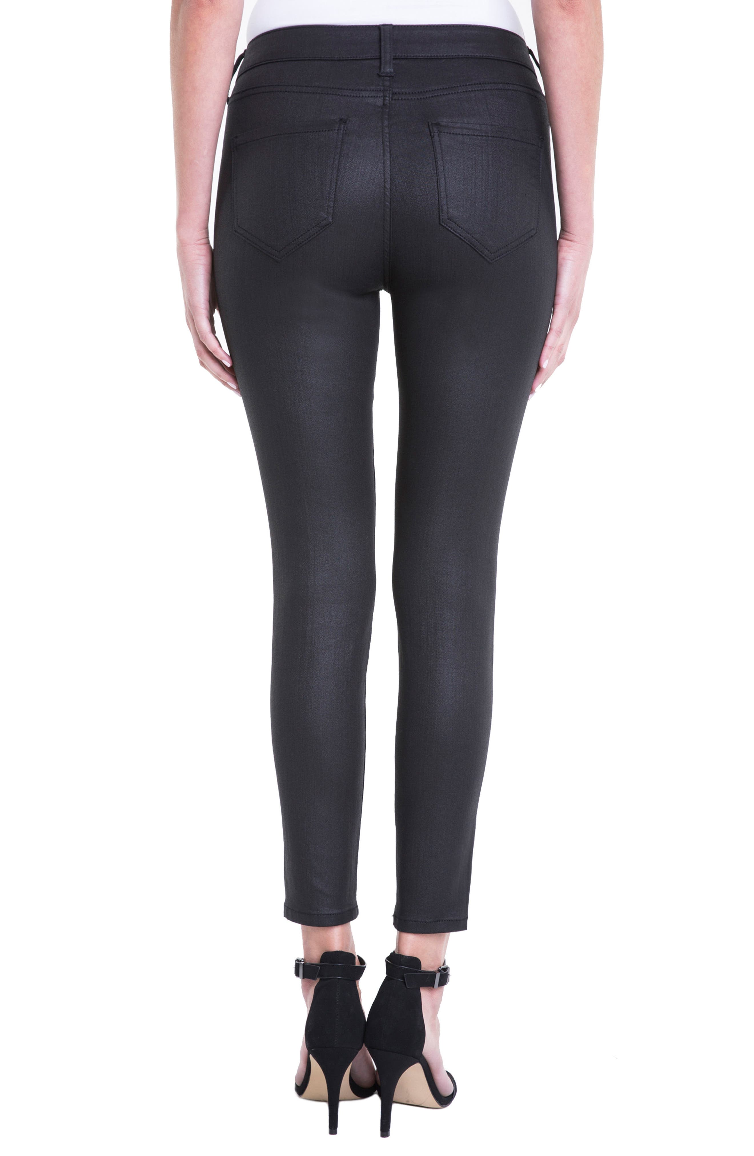 Bridget Coated High Waist Skinny Jeans,                             Alternate thumbnail 3, color,                             Black