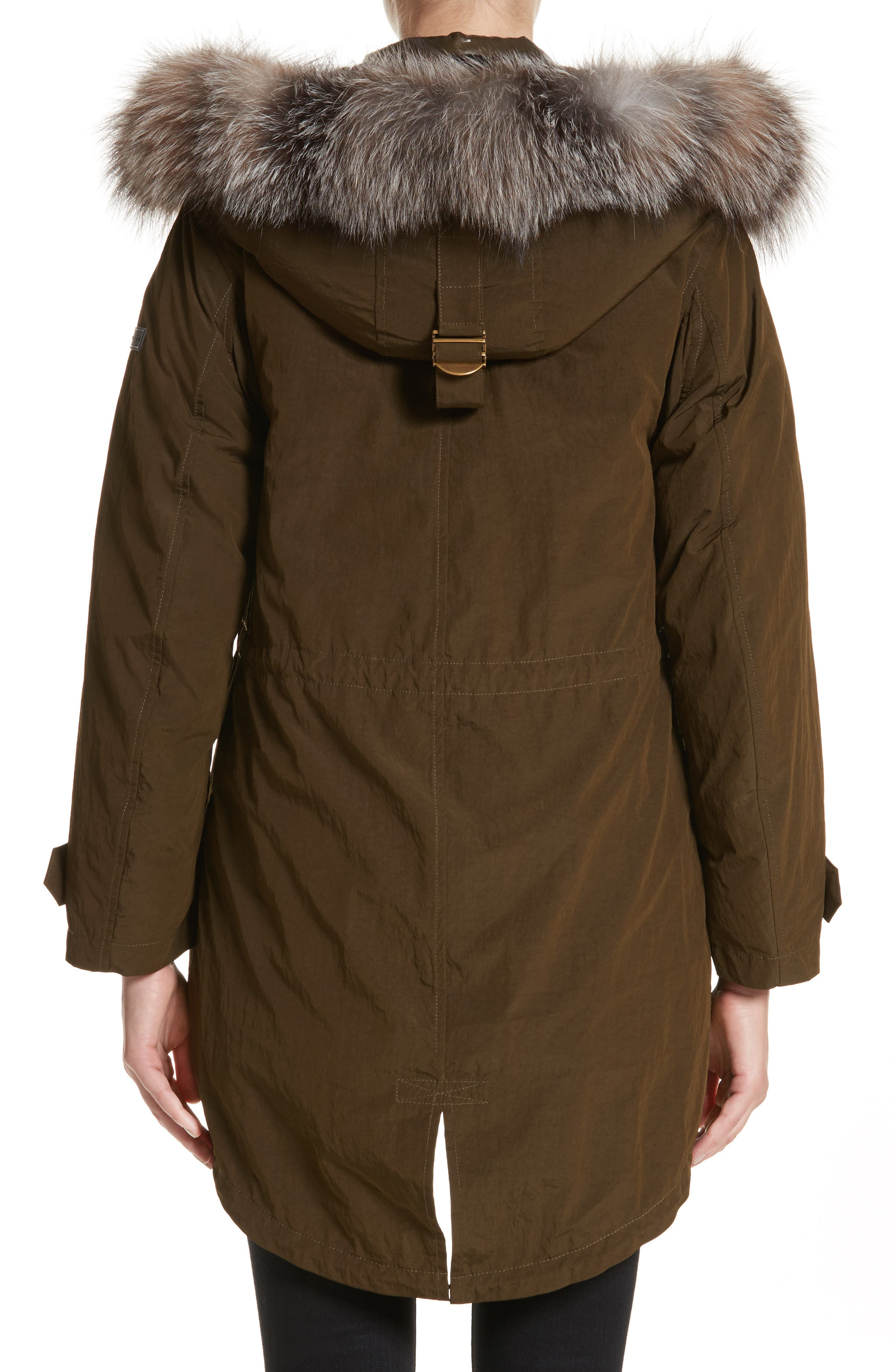Ramsford 3-in-1 Hooded Parka with Genuine Fox Fur & Genuine Shearling Trim,                             Alternate thumbnail 3, color,                             Dark Olive