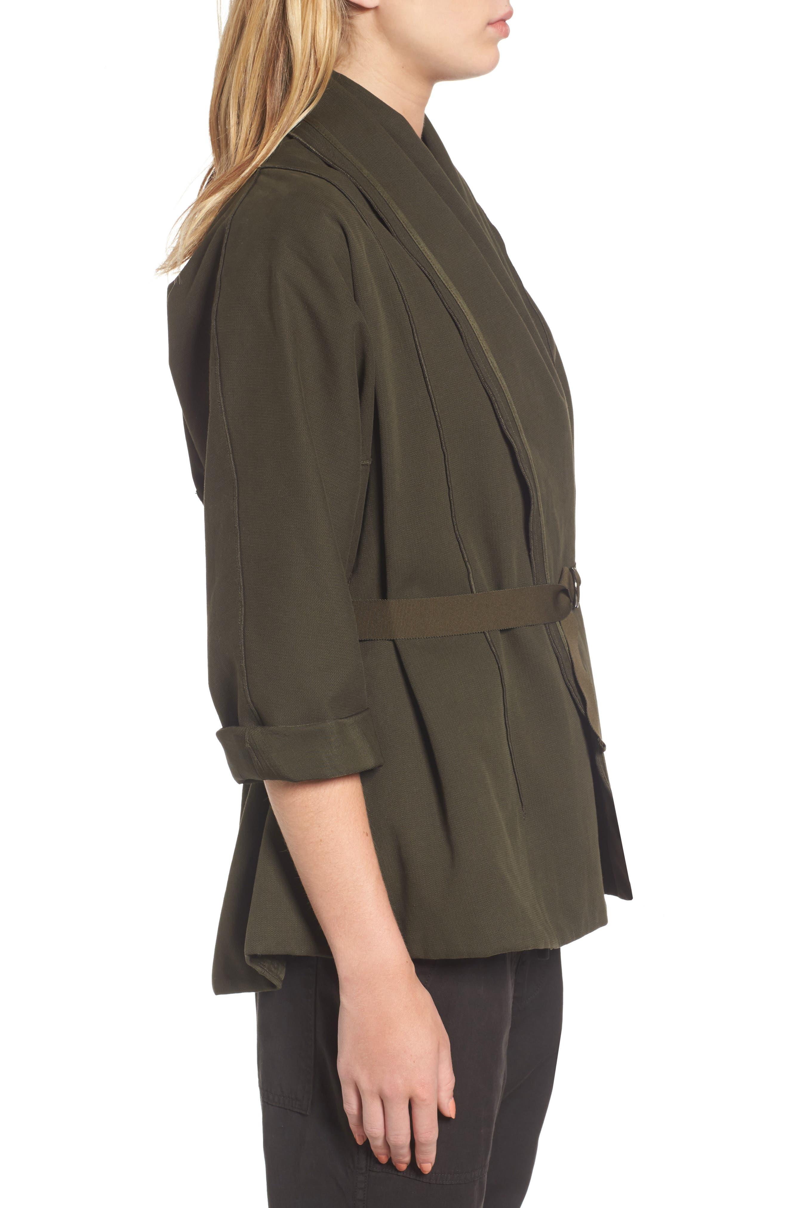 Blanket Kimono Jacket,                             Alternate thumbnail 3, color,                             Smoky Green