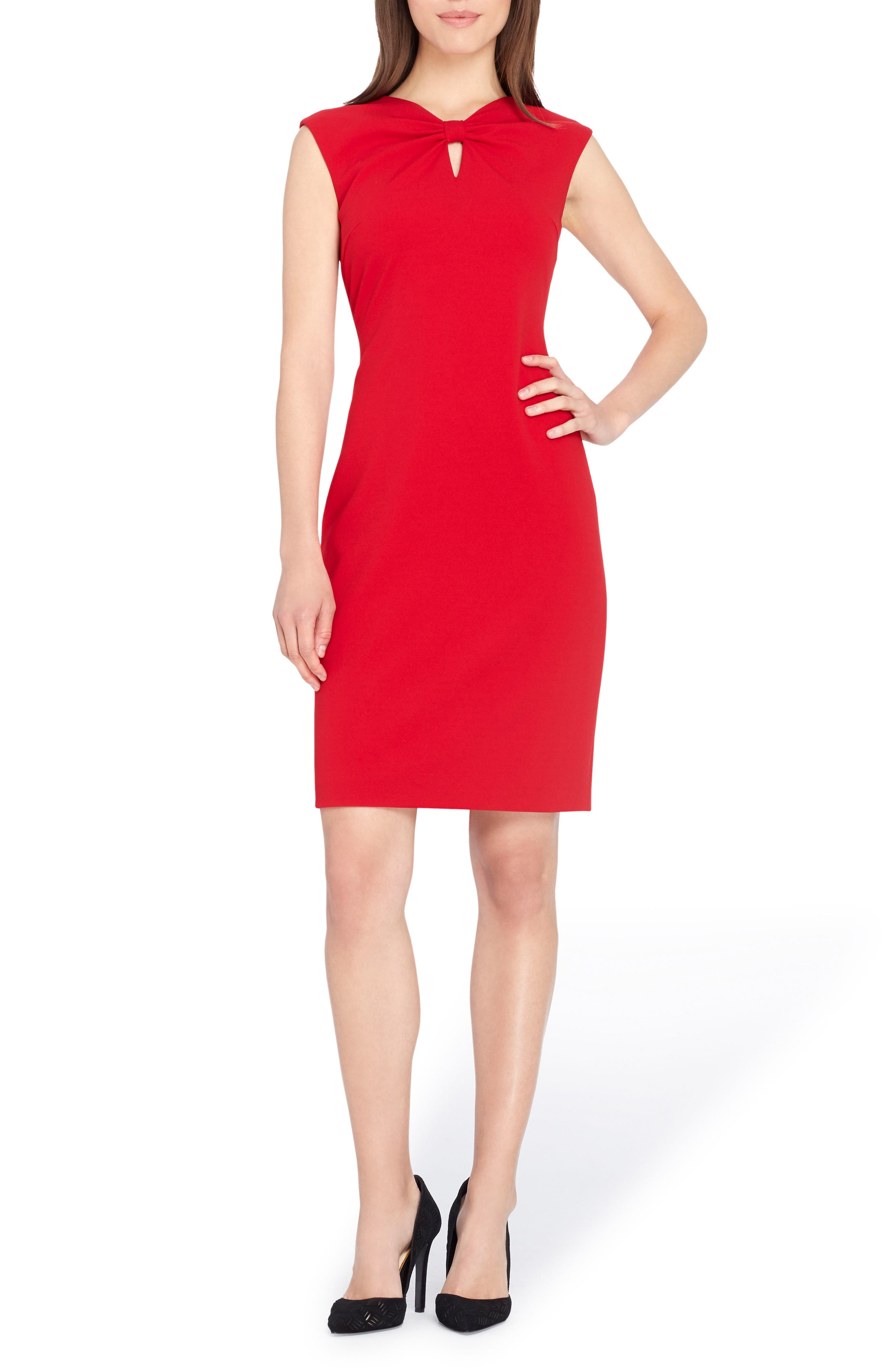 Knotted Scuba Sheath Dress,                         Main,                         color, Red