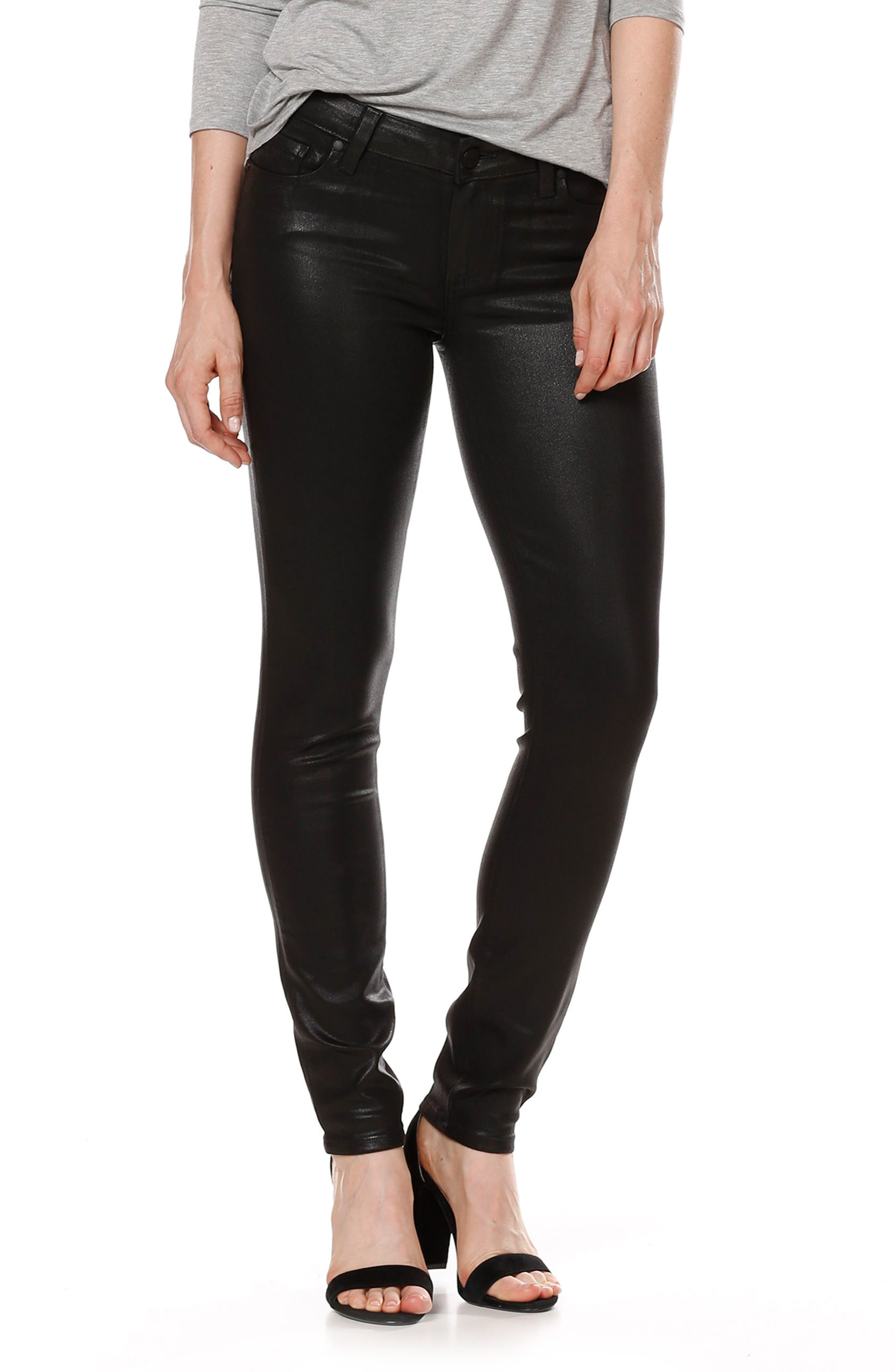 Main Image - PAIGE Transcend - Verdugo Coated Skinny Jeans (Luxe Black)
