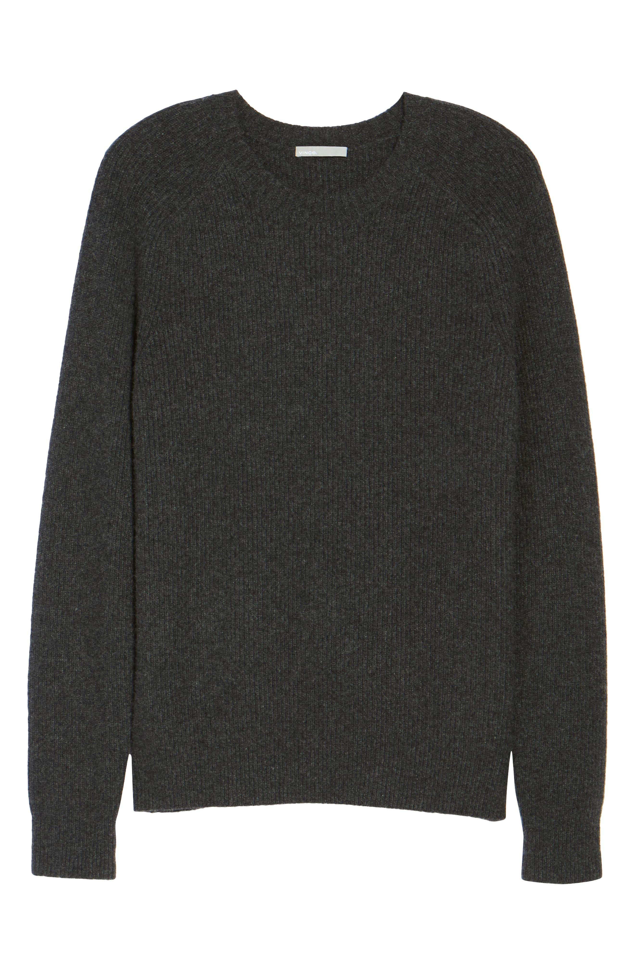 Ribbed Wool & Cashmere Raglan Sweater,                             Alternate thumbnail 6, color,                             Heather Carbon