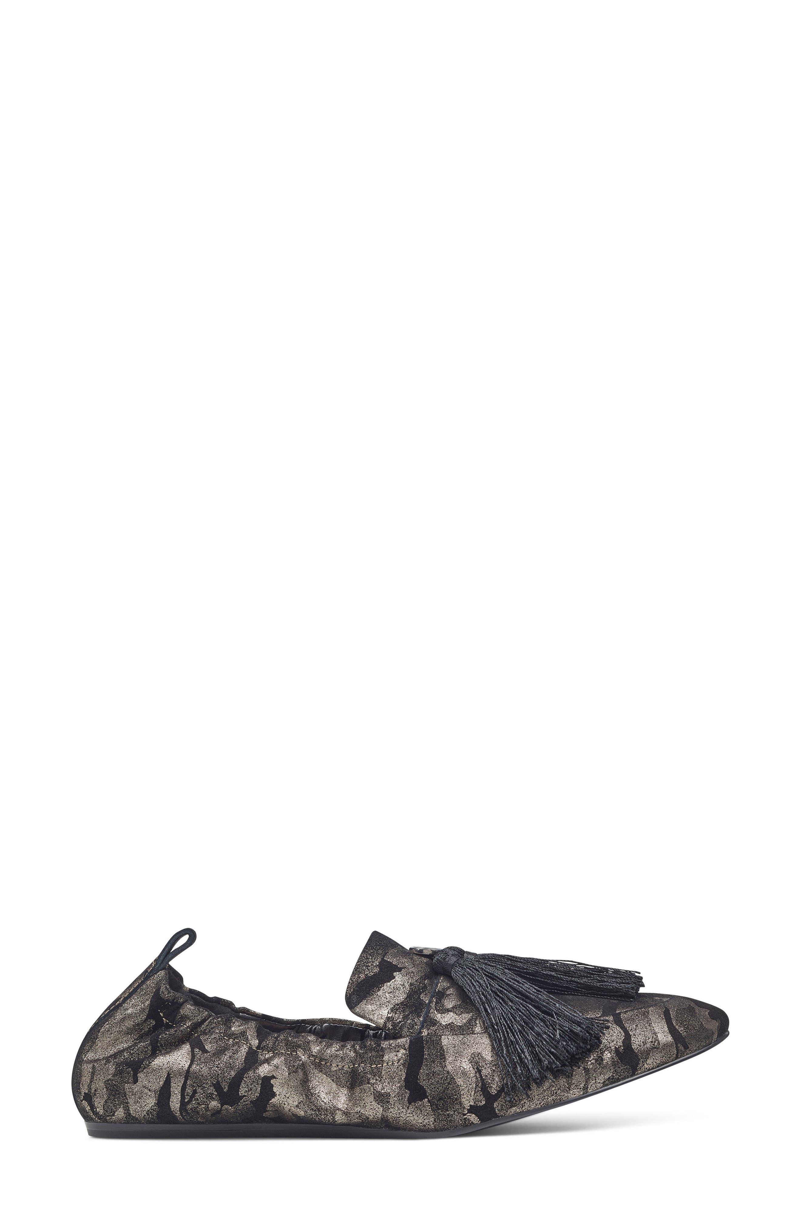 Ballard Tassel Loafer Flat,                             Alternate thumbnail 3, color,                             Pewter Leather