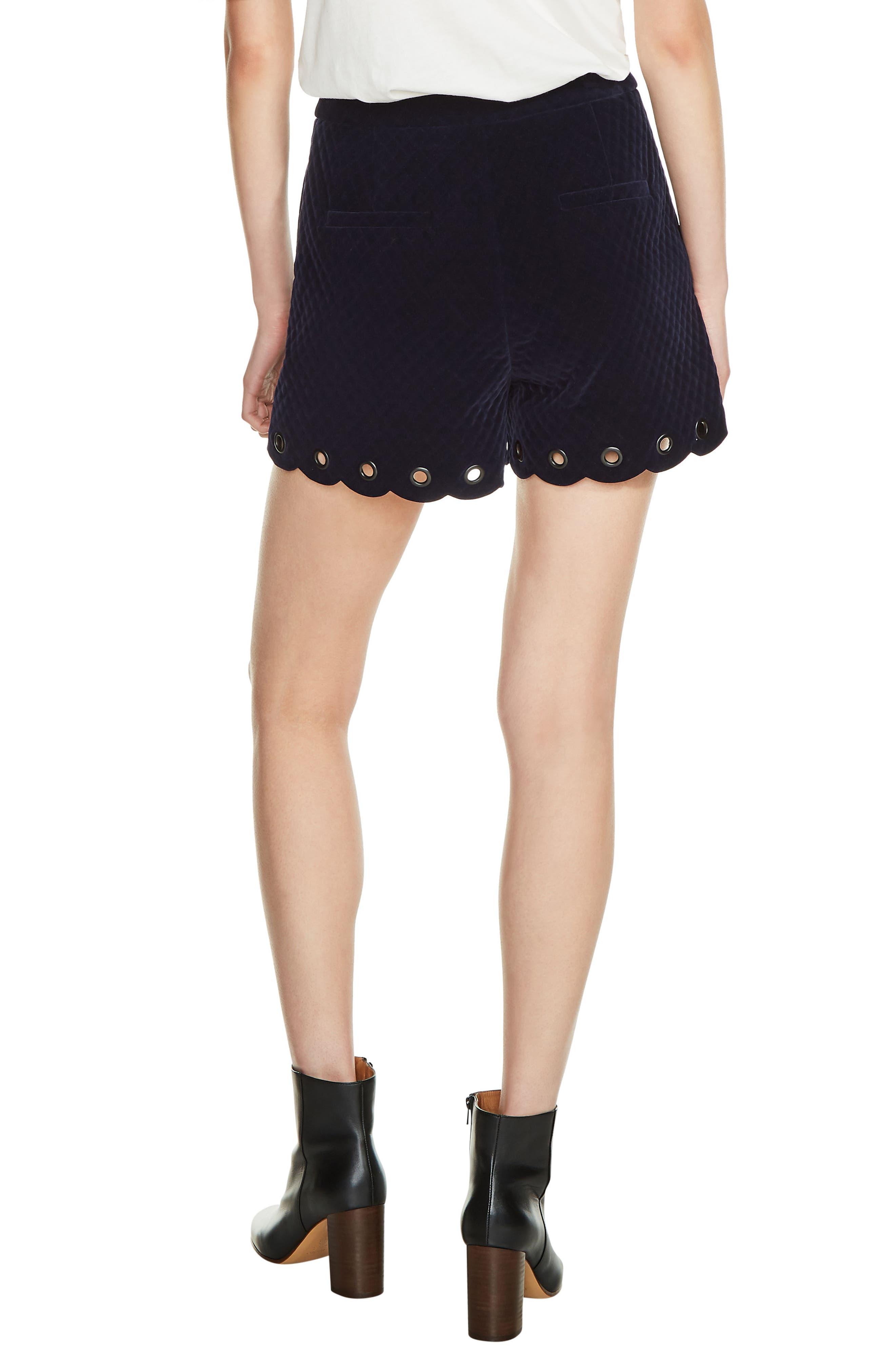 Alternate Image 2  - maje Grommet Detail Velvet Shorts