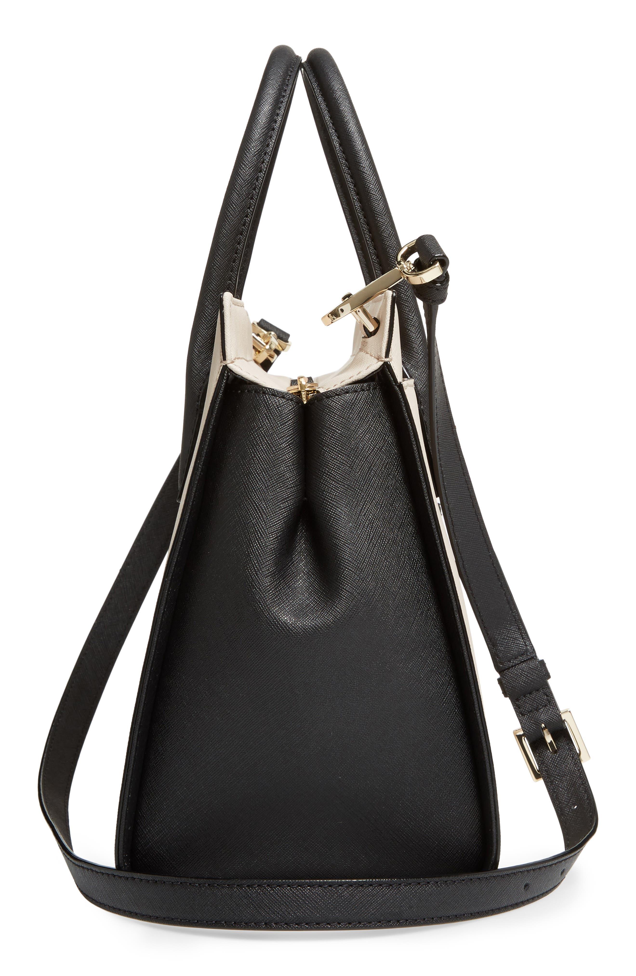 cameron street - candace leather satchel,                             Alternate thumbnail 5, color,                             Tusk/ Black