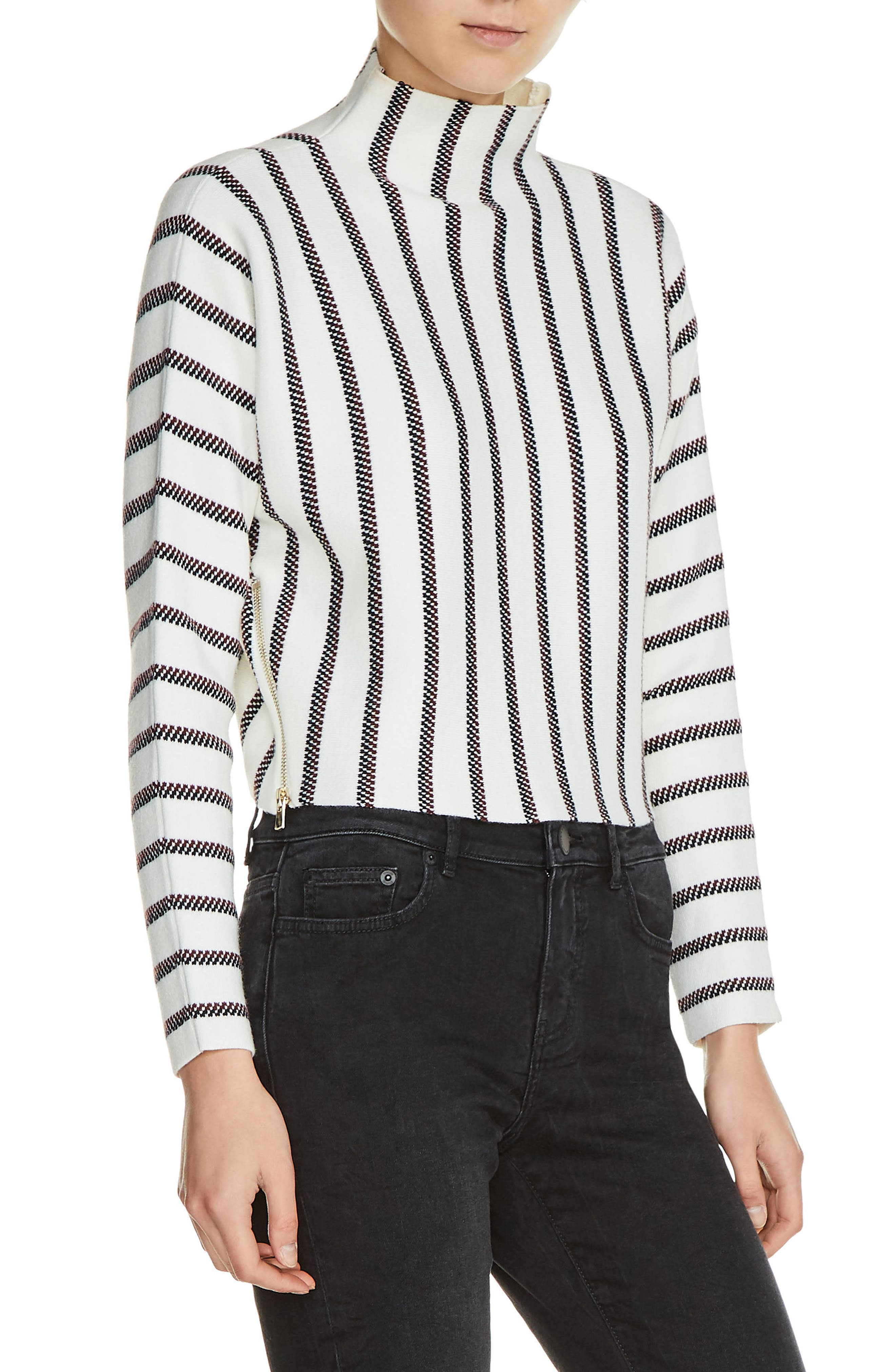 maje Mesh Stripe Crop Sweater