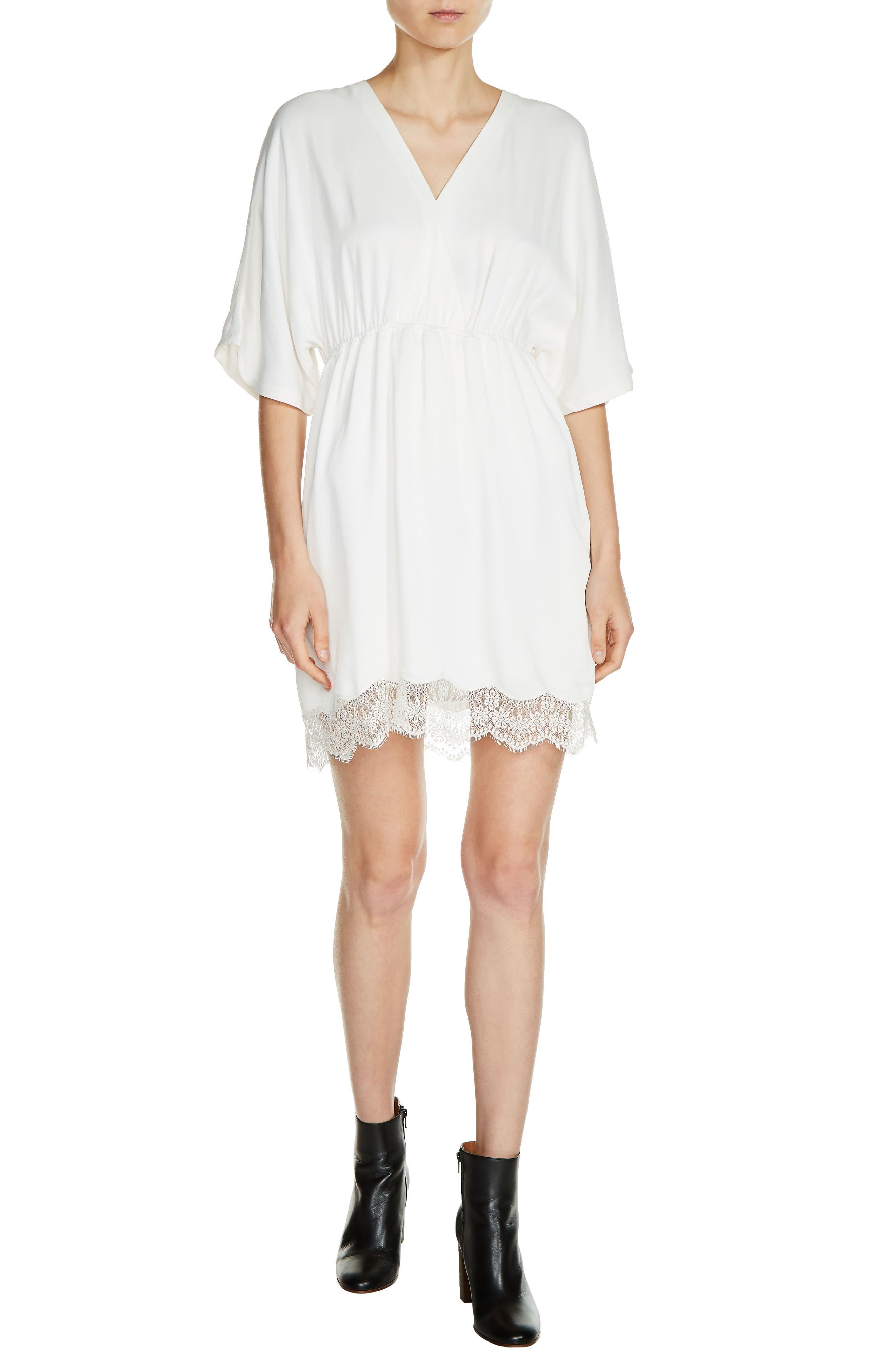 Lace Trim V-Neck Dress,                         Main,                         color, Ecru