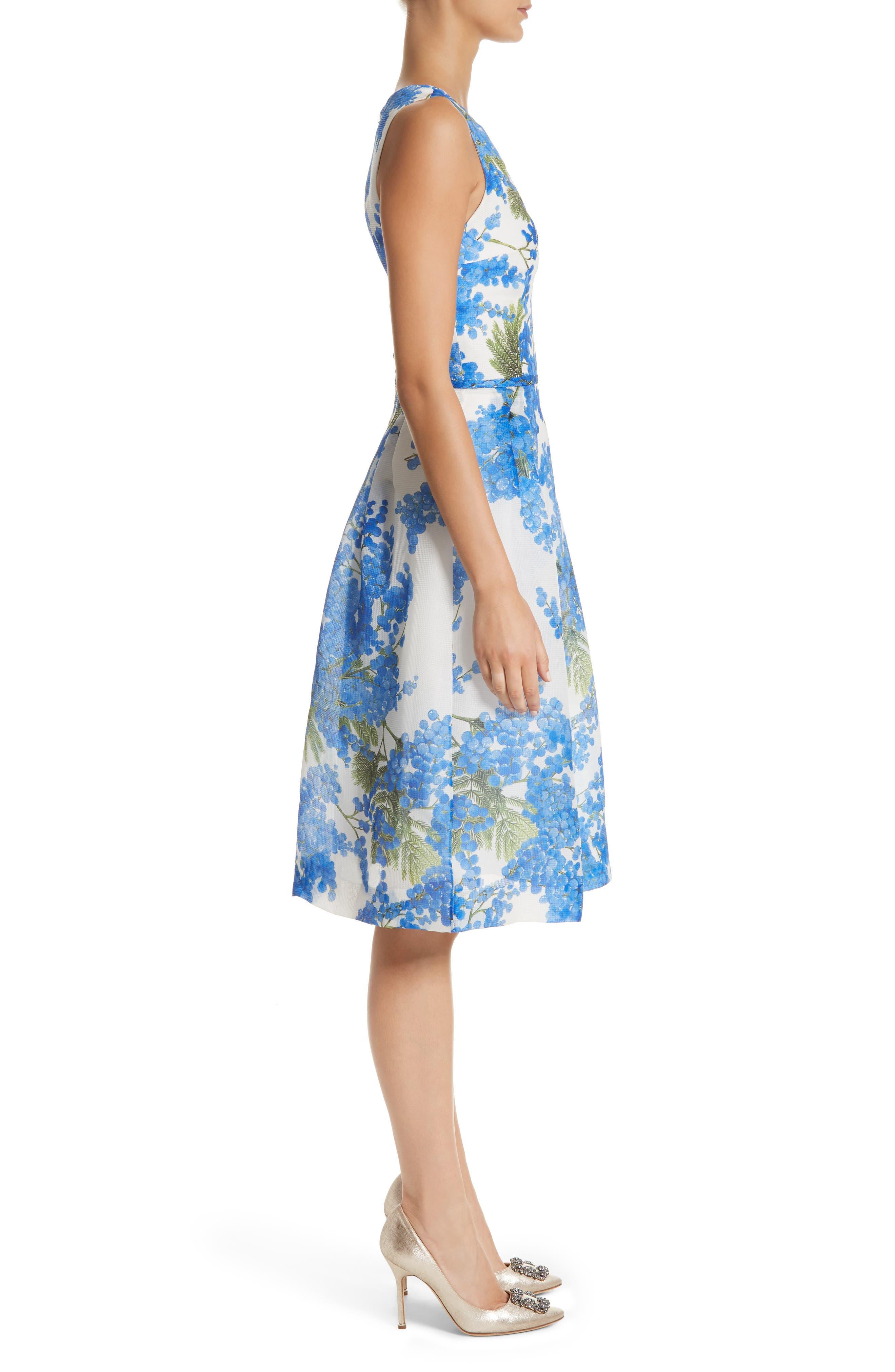 Floral Fit & Flare Dress,                             Alternate thumbnail 3, color,                             Colbalt/White