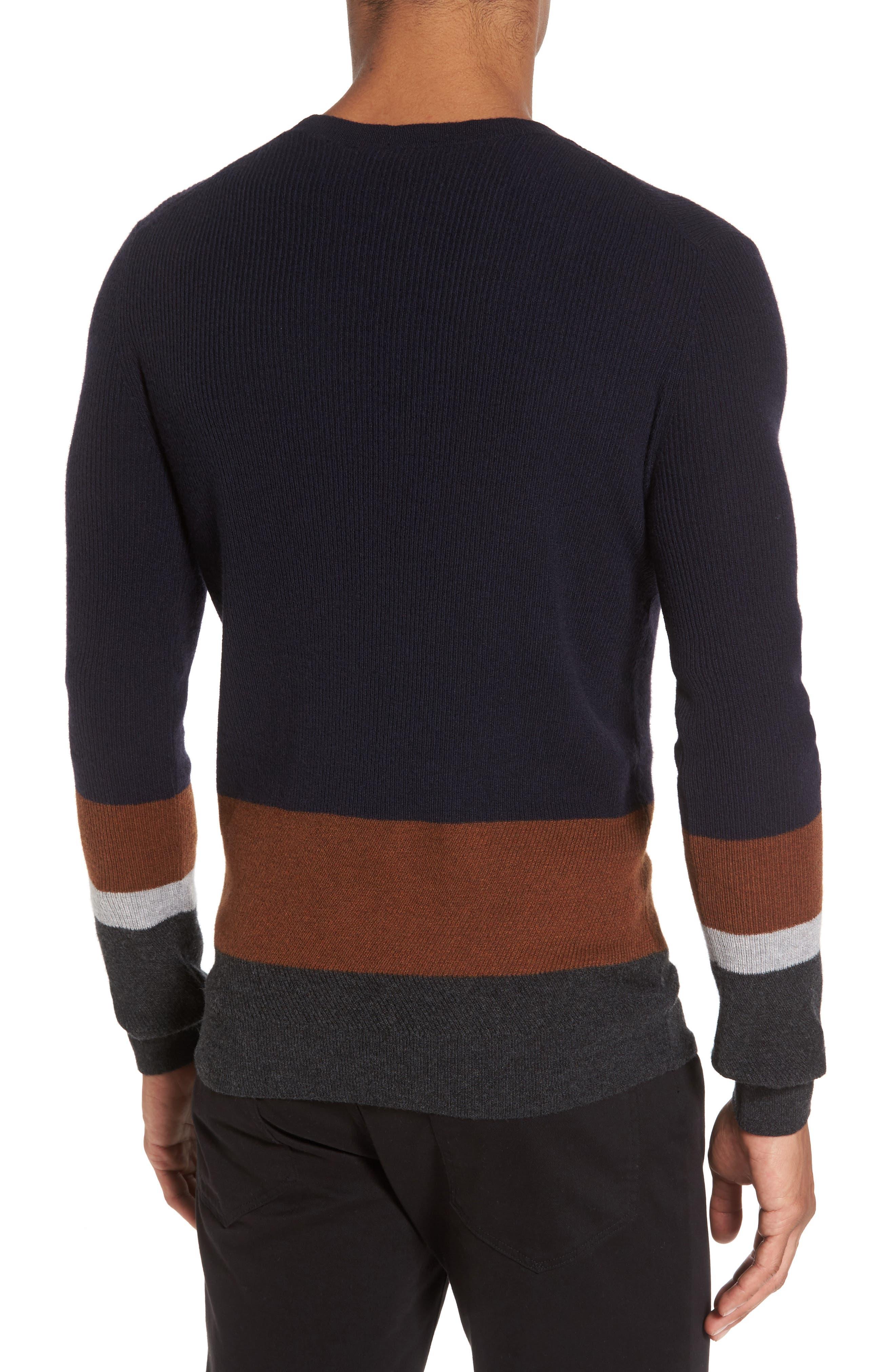 Colorblock Crewneck Sweater,                             Alternate thumbnail 2, color,                             Navy