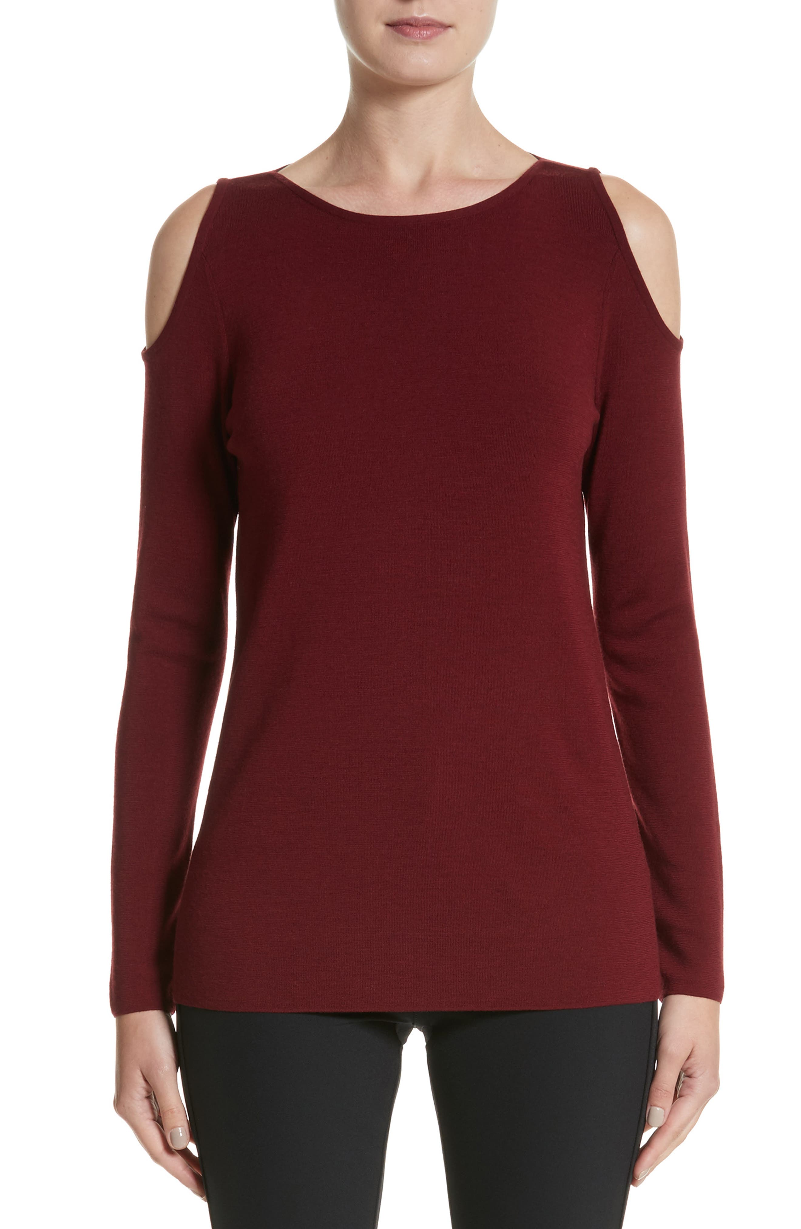 Lafayette 148 New York Wool Cold Shoulder Sweater
