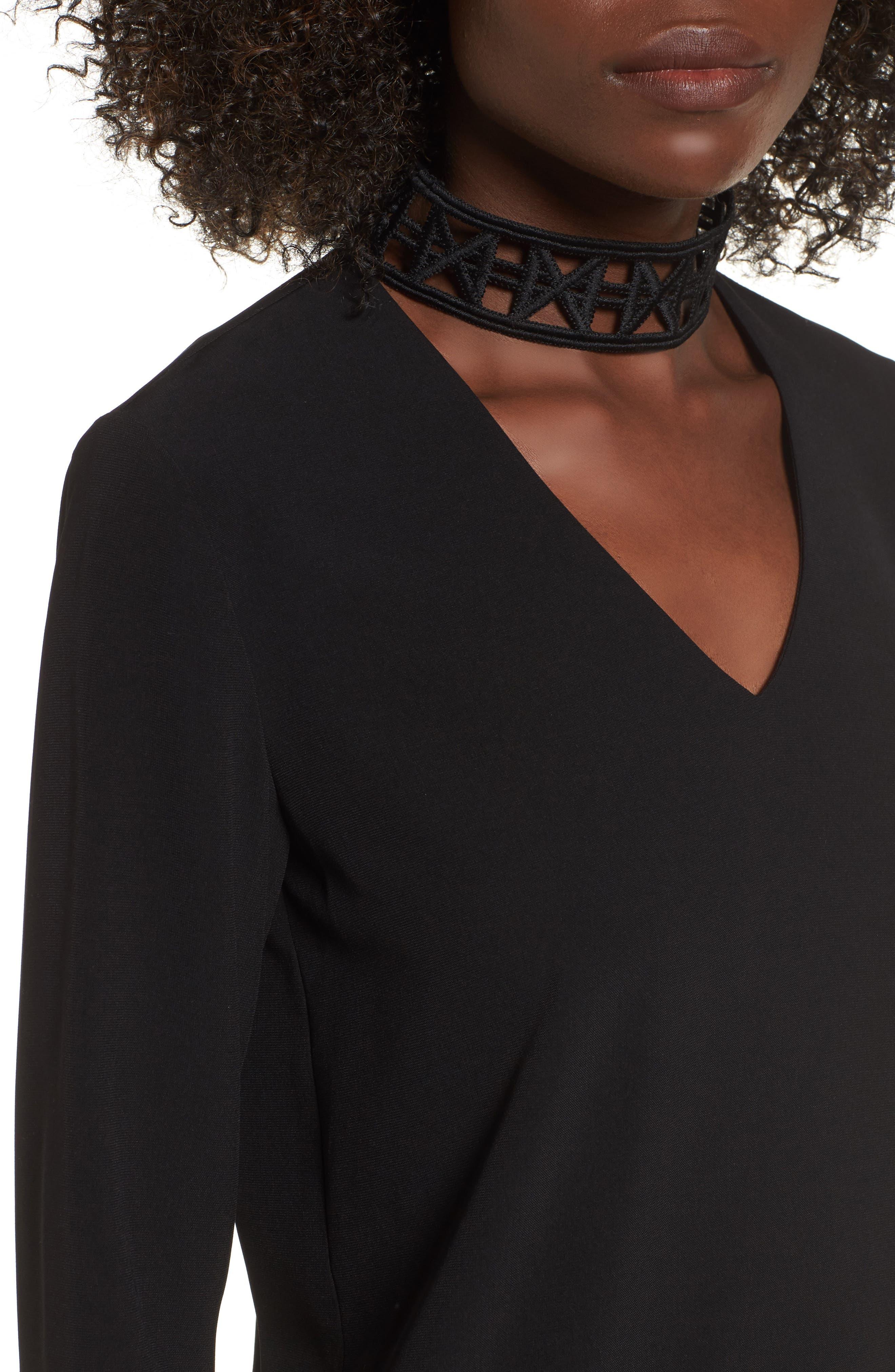 Choker Lace Top,                             Alternate thumbnail 4, color,                             Black