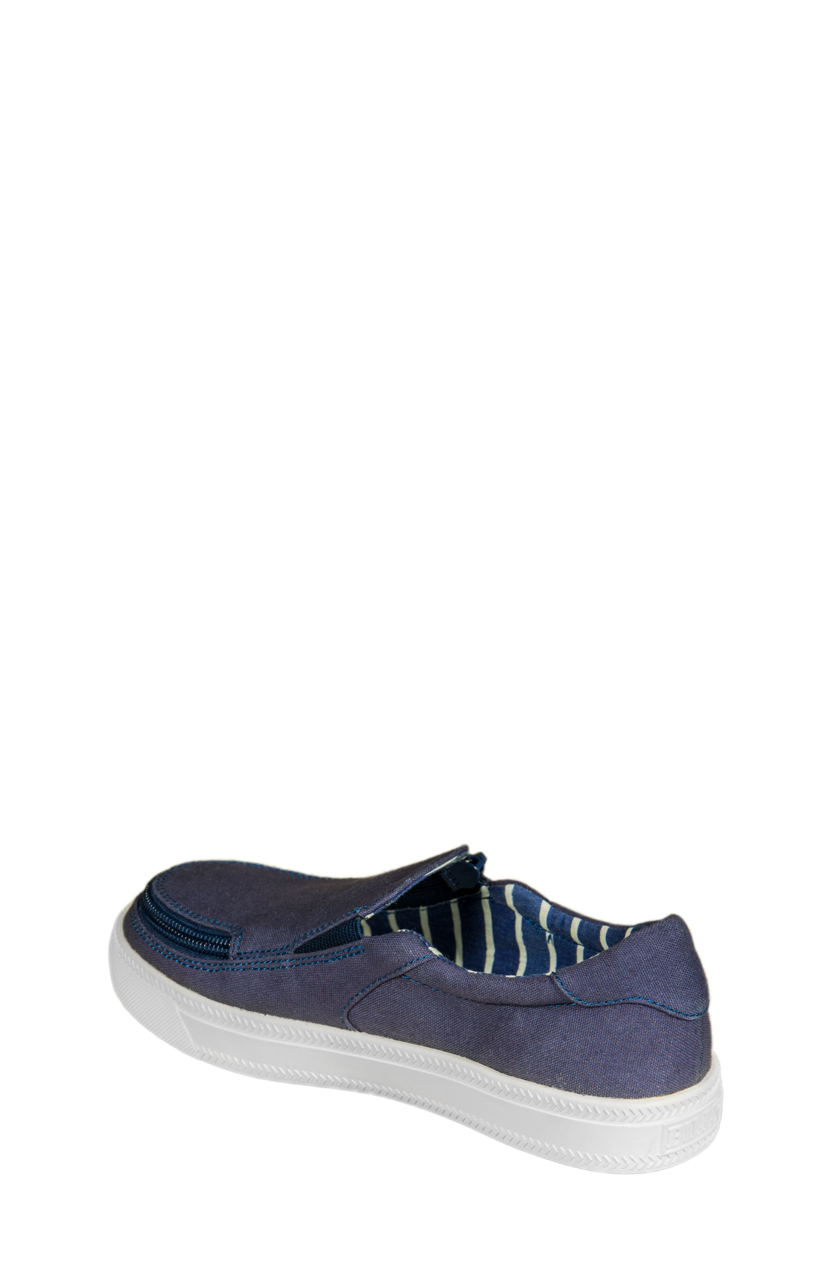 Zip Around Low Top Sneaker,                             Alternate thumbnail 2, color,                             Navy Canvas