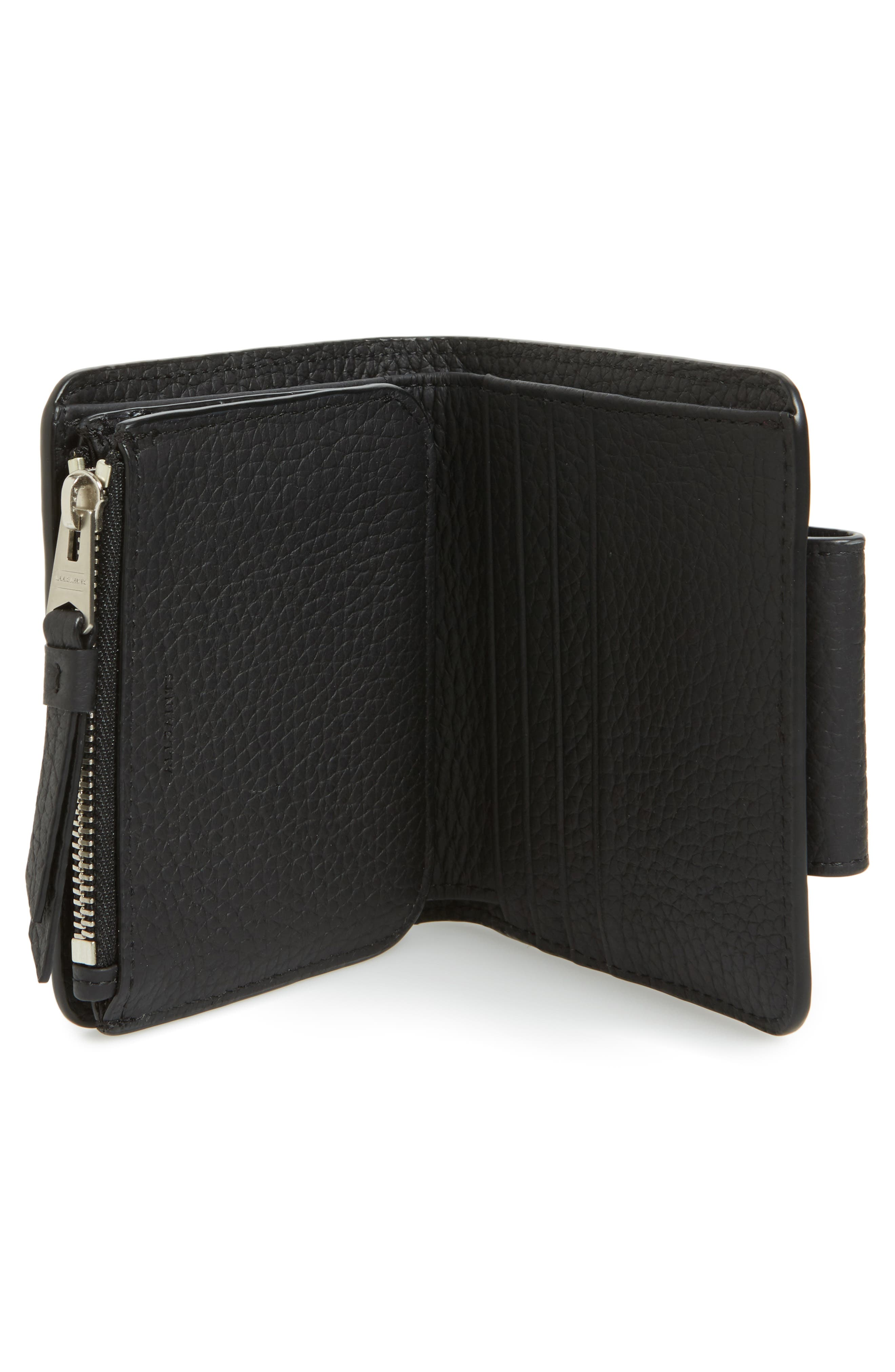 Small Ray Leather Wallet,                             Alternate thumbnail 2, color,                             Black