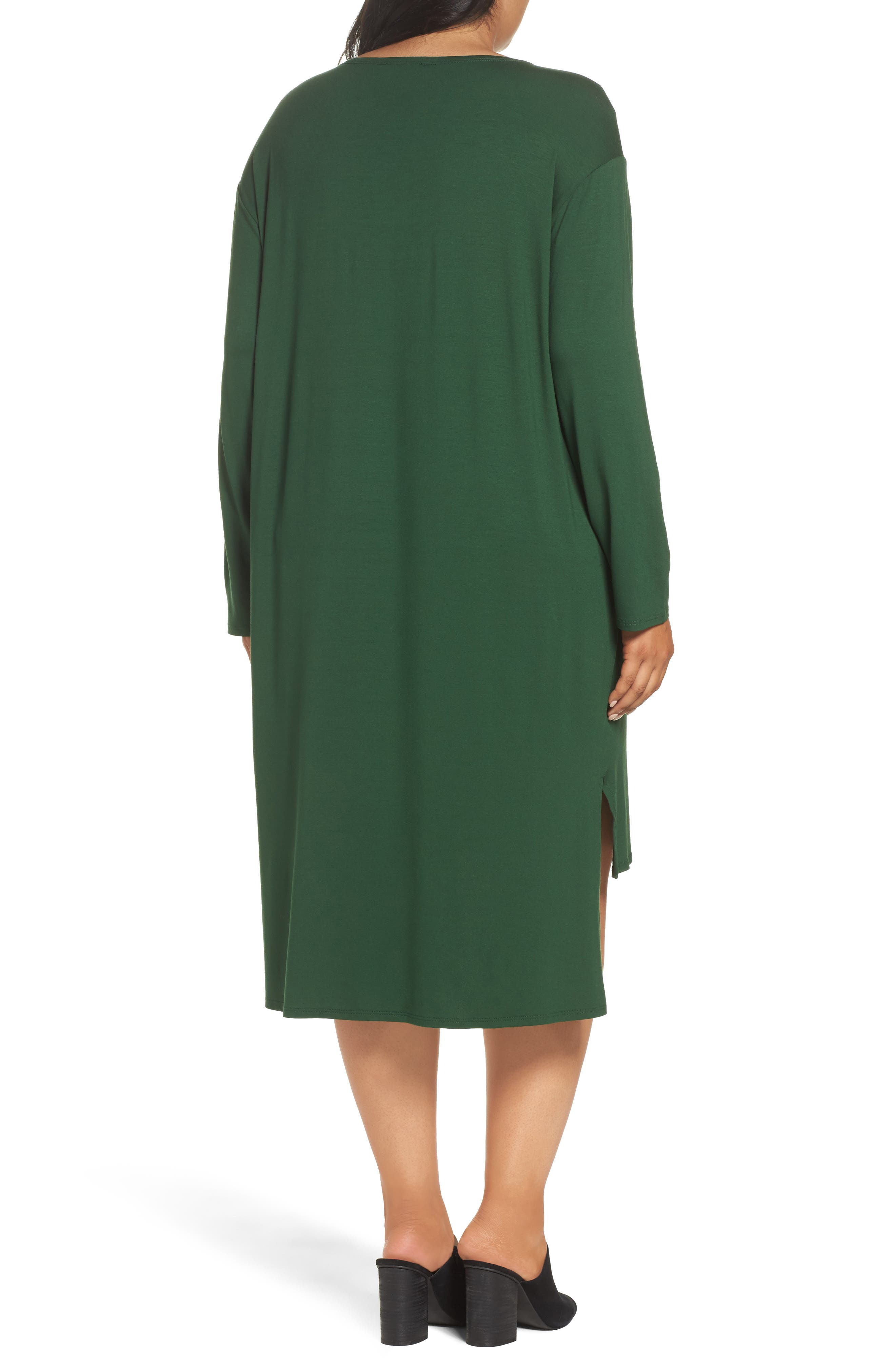 High/Low Jersey Shift Dress,                             Alternate thumbnail 2, color,                             Hemlock