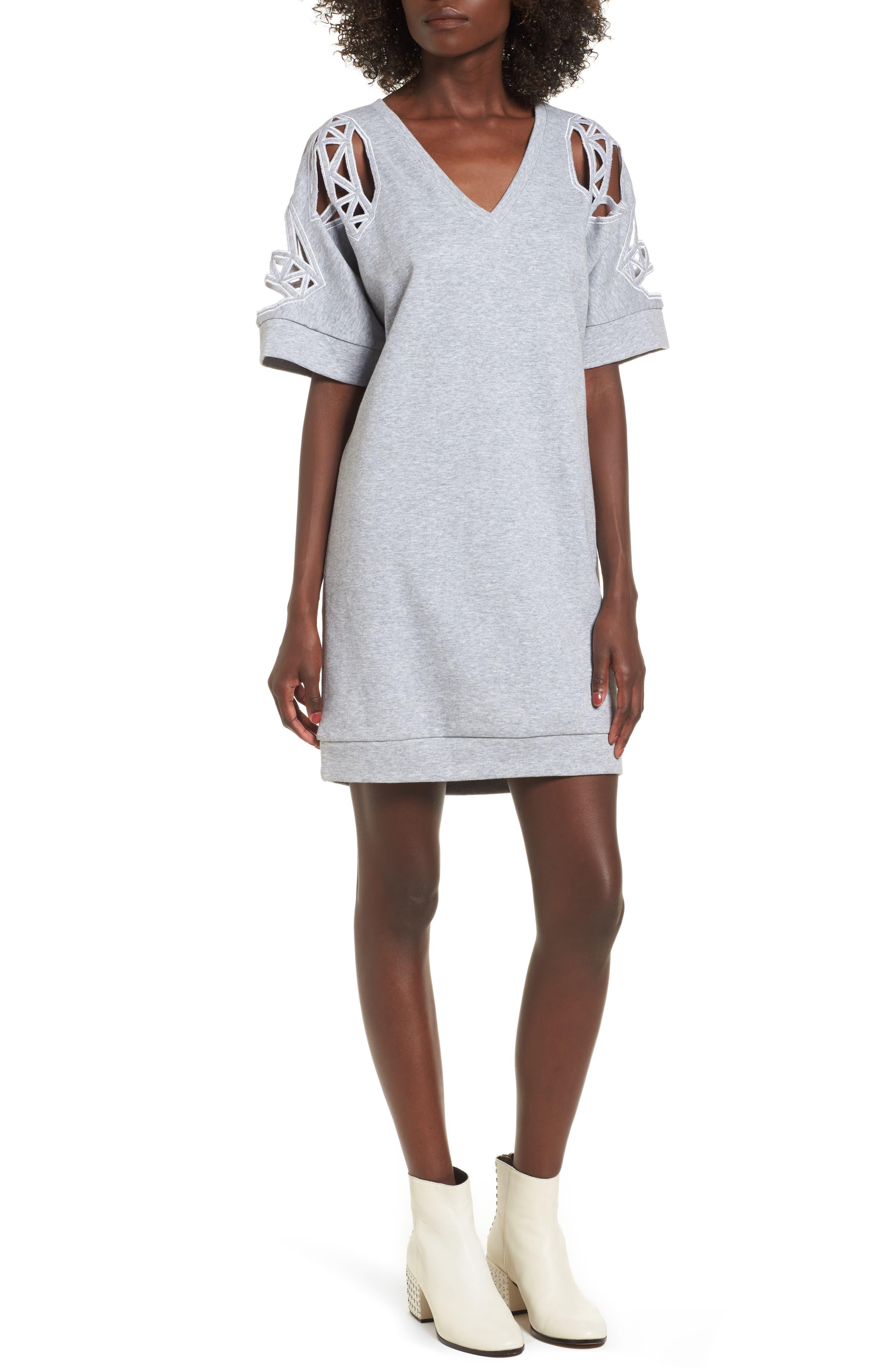 Daffic Sweatshirt Dress,                         Main,                         color, Light Grey Melange