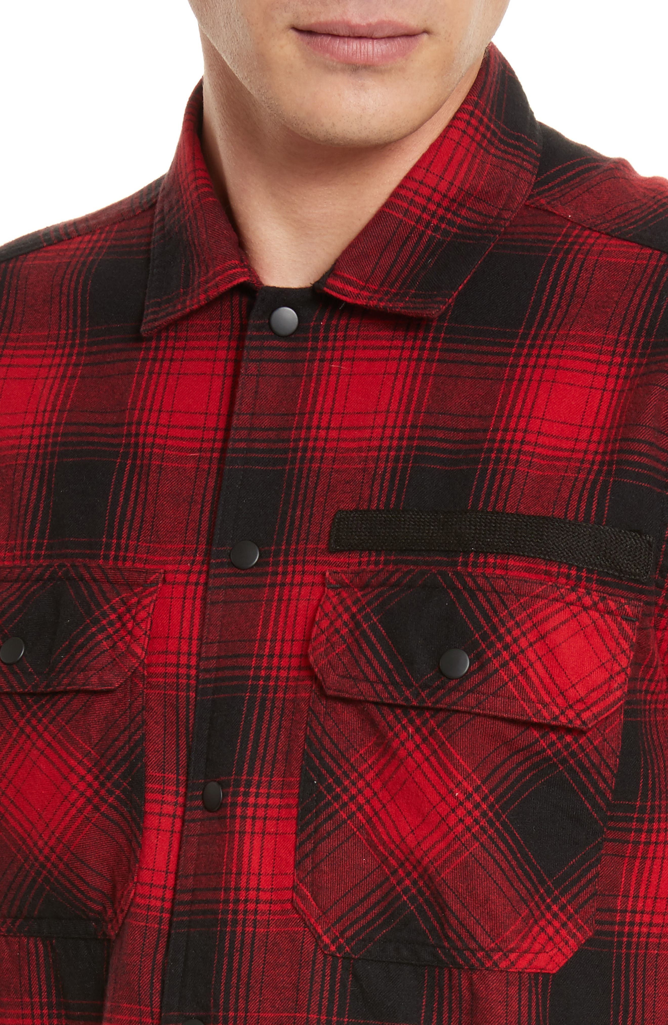 Plaid Flannel Shirt,                             Alternate thumbnail 4, color,                             Red Plaid