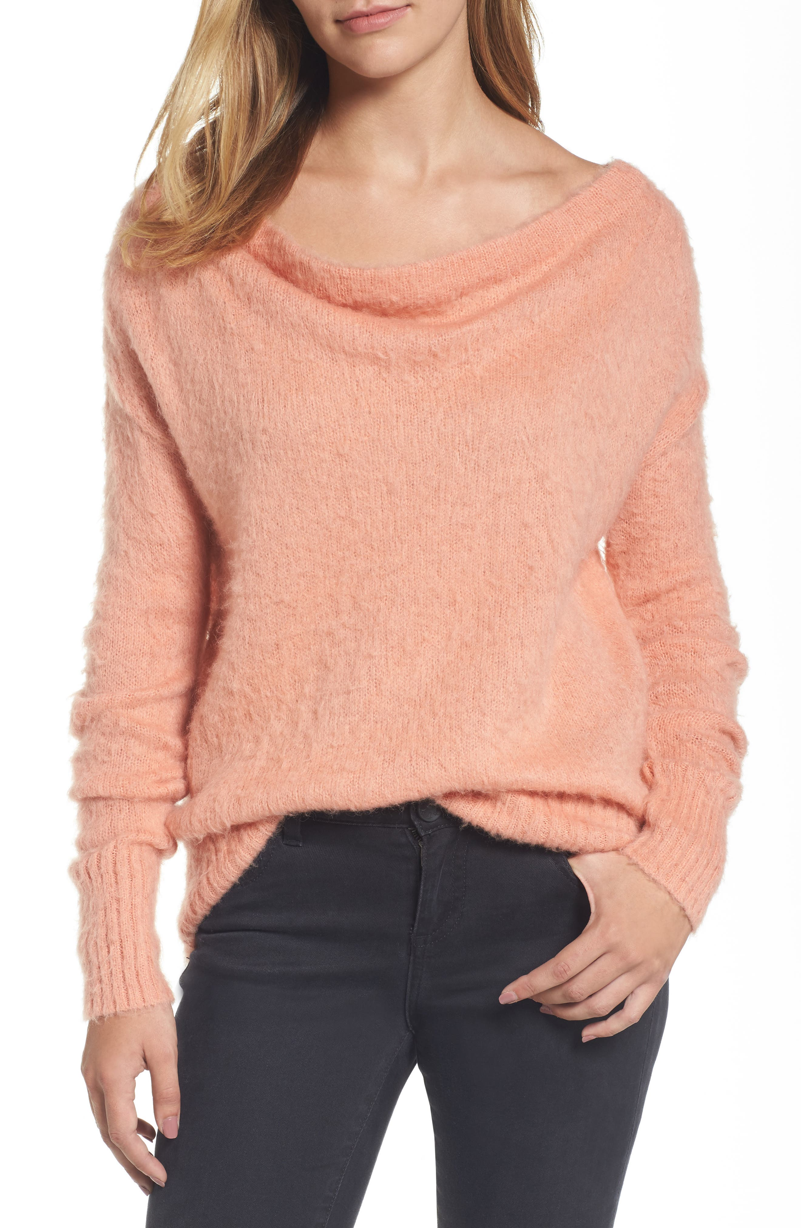 Caslon® Long Sleeve Brushed Sweater (Regular & Petite)