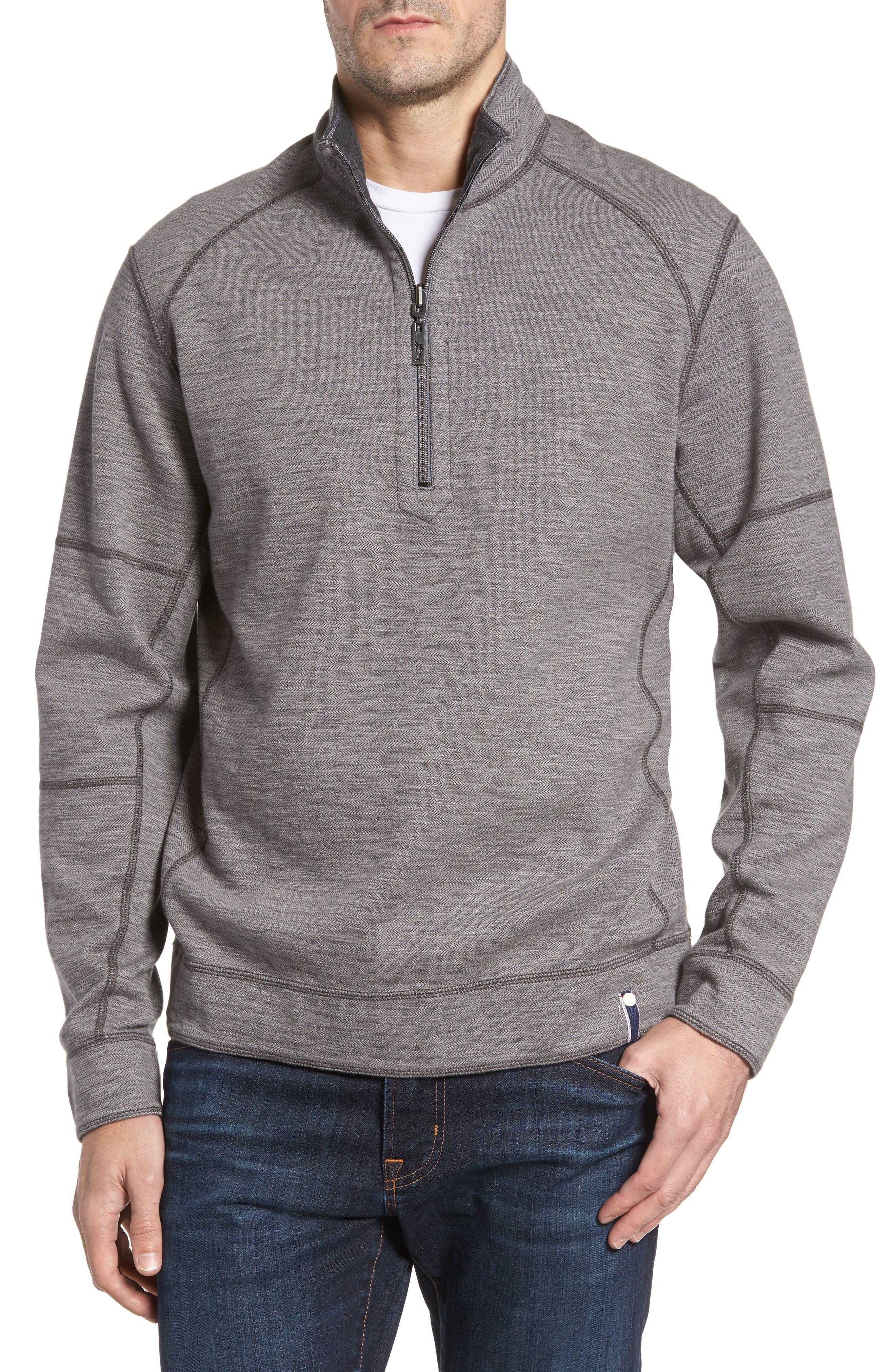 Sandbar Slub Reversible Quarter Zip Pullover,                         Main,                         color, Charcoal Heather