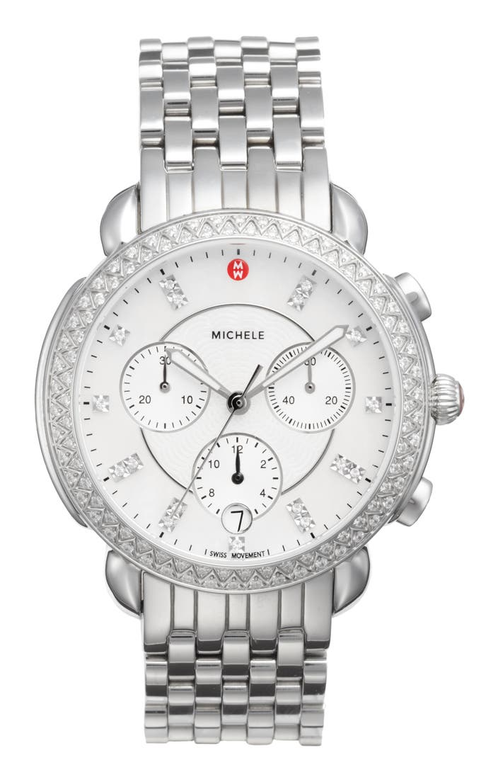 Michele sidney chrono diamond diamond dial watch case 38mm nordstrom for Diamond dial watch