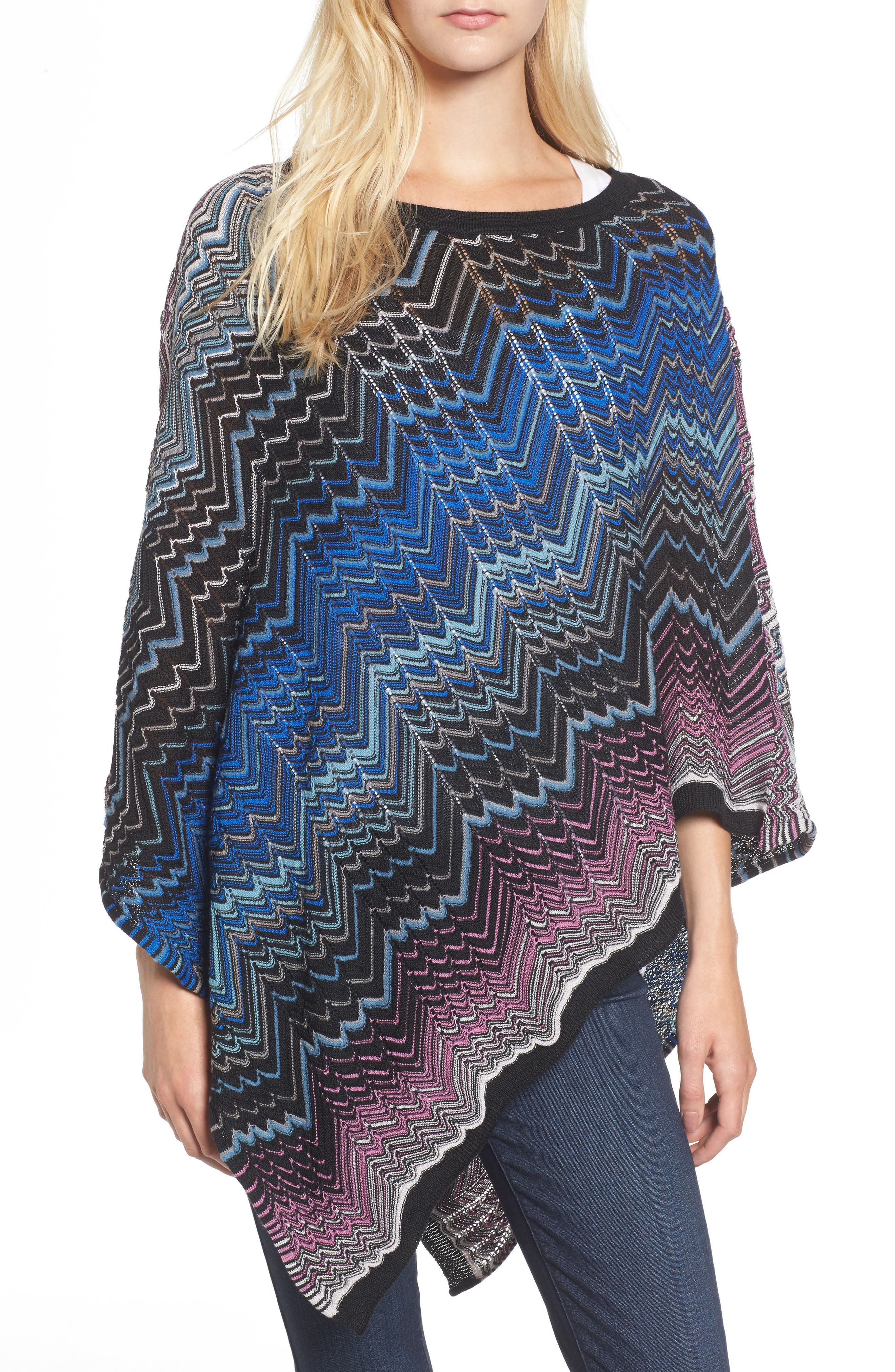 Zigzag Poncho,                         Main,                         color, Blue