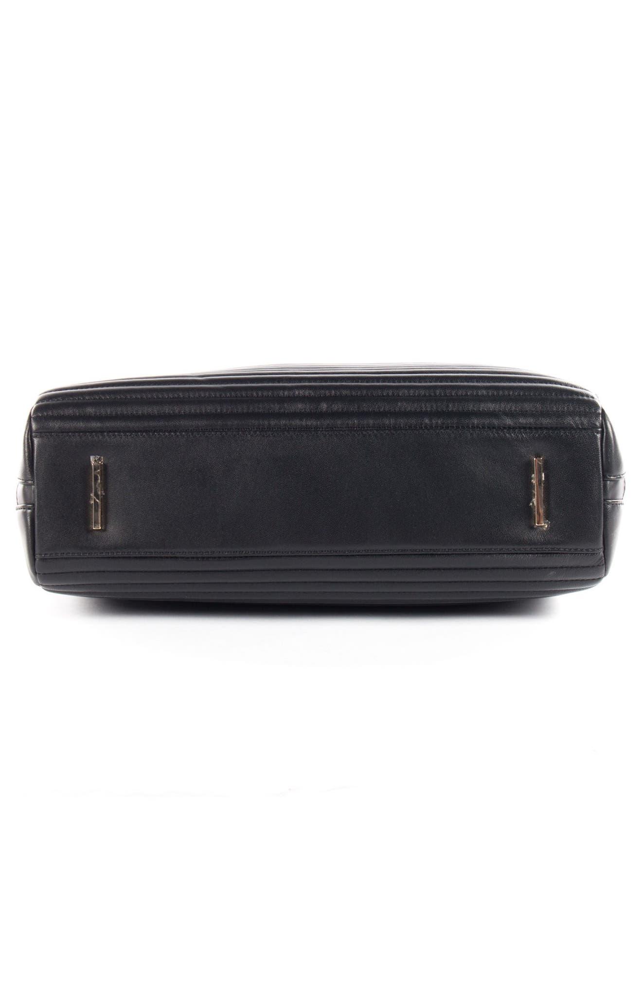 Céline Dion Vibrato Quilted Leather Satchel,                             Alternate thumbnail 4, color,                             Black