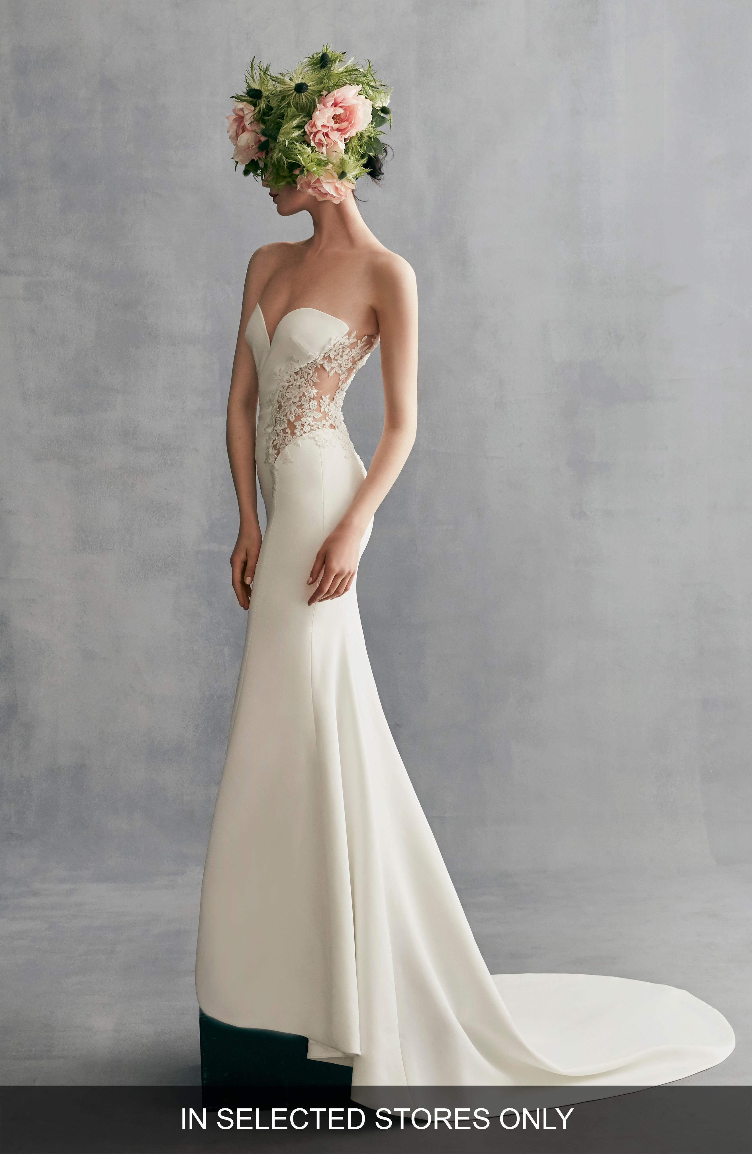 Kalina Illusion Lace & Crepe Gown,                         Main,                         color, Off White