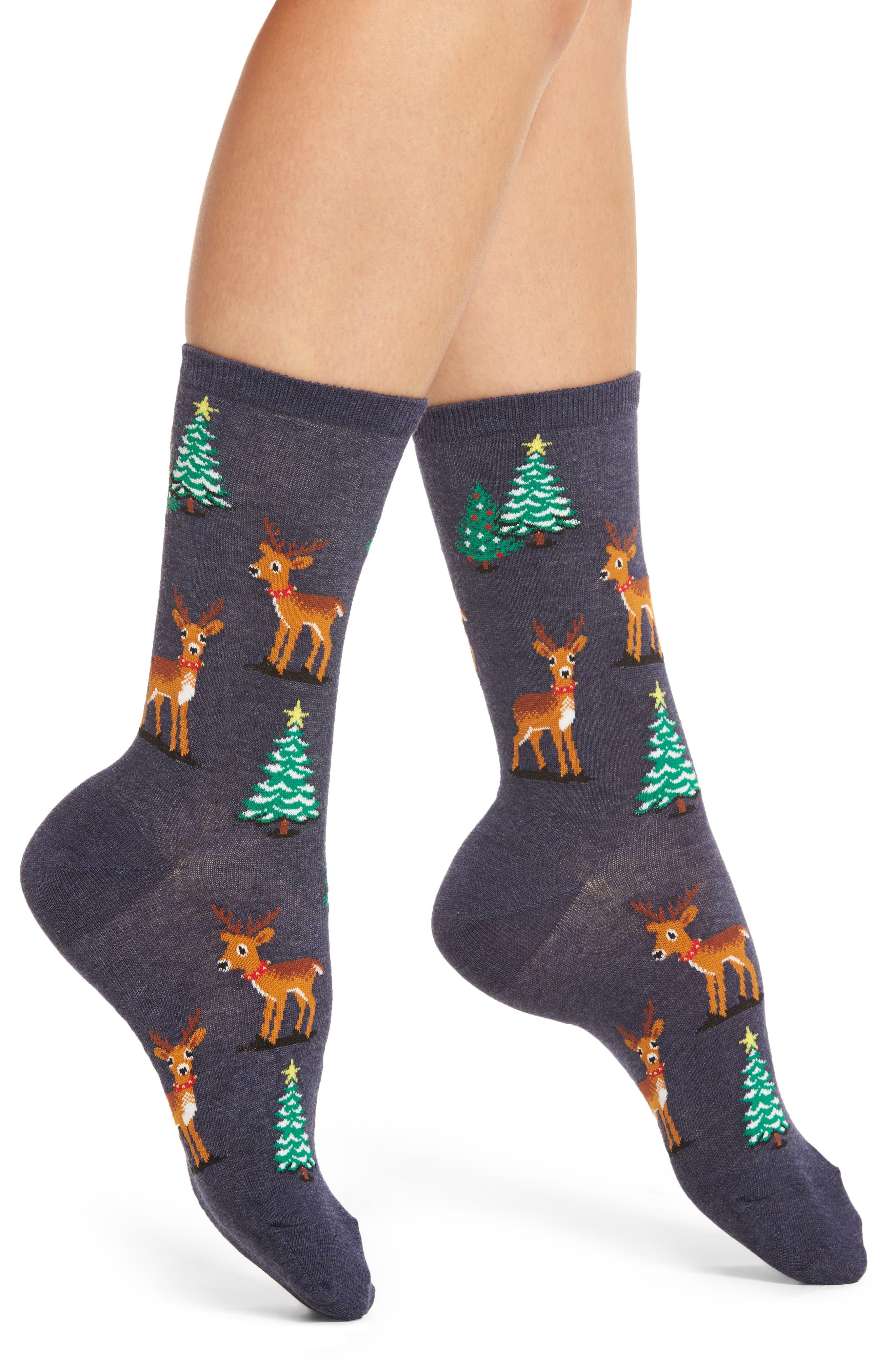 Hot Sox Reindeer Scene Crew Socks (3 for $15)