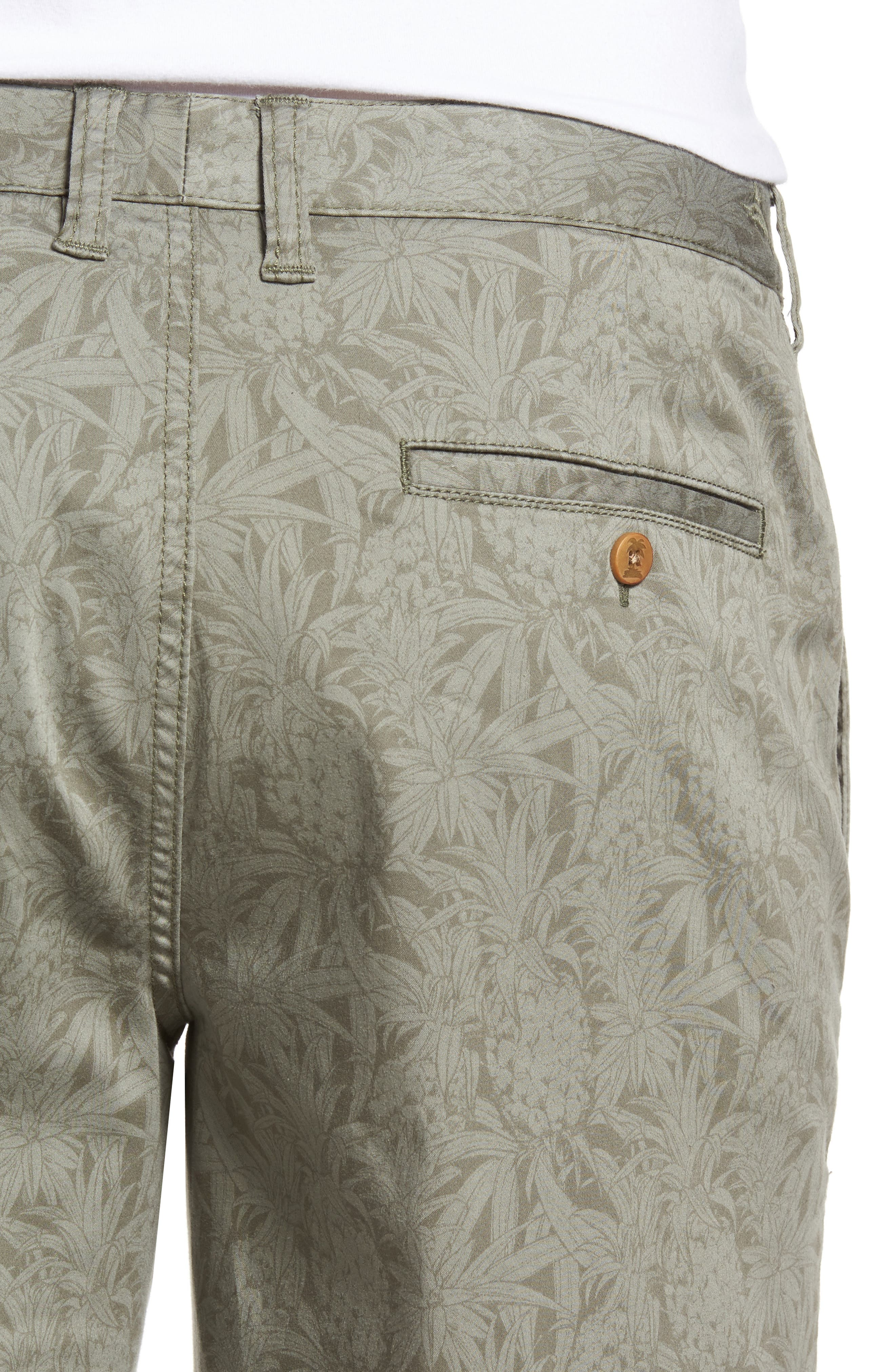 Camo Tropic Standard Fit Chino Shorts,                             Alternate thumbnail 4, color,                             Dusty Olive