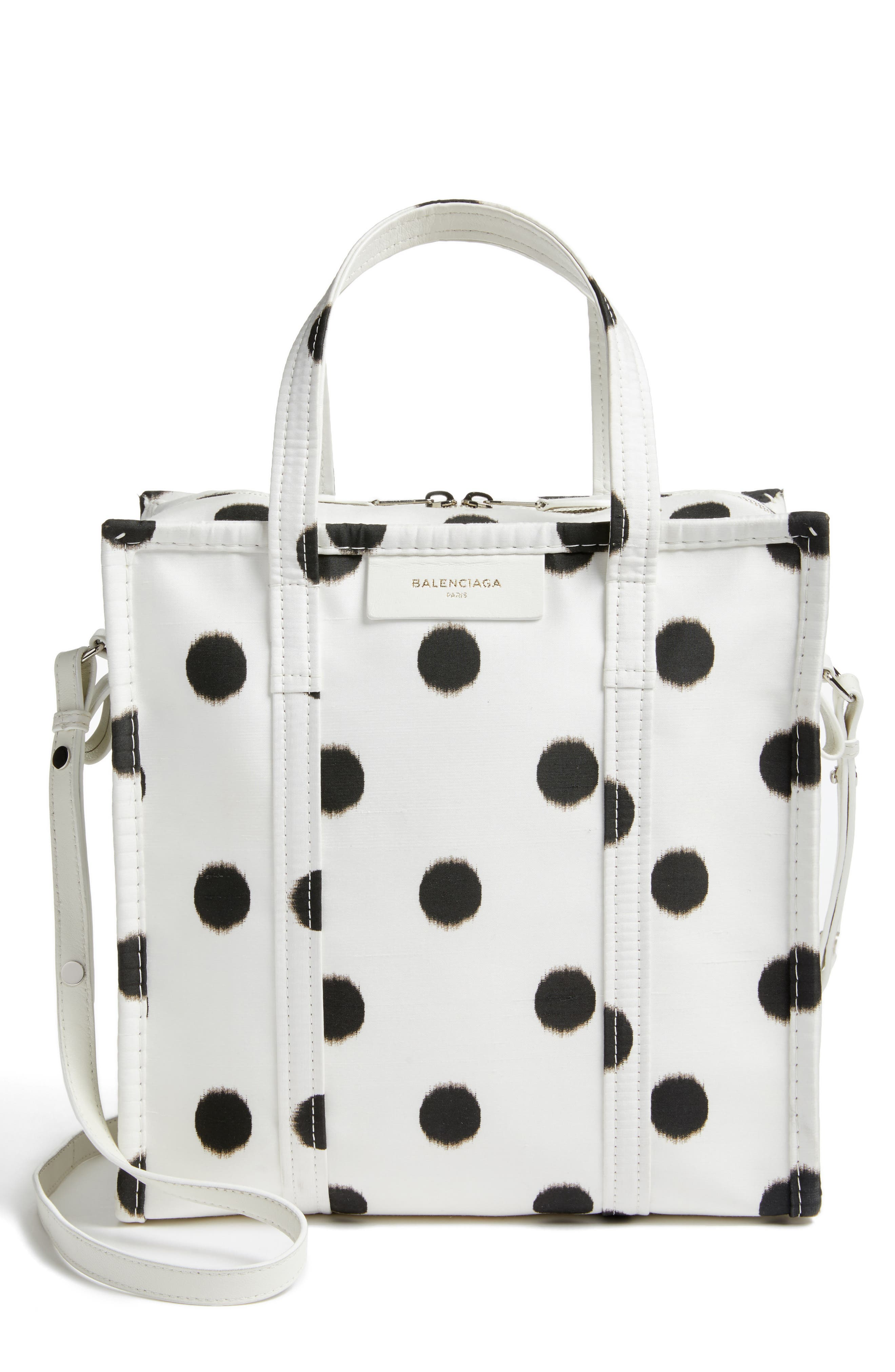 Balenciaga Small Polka Dot Bazar Silk Shopper