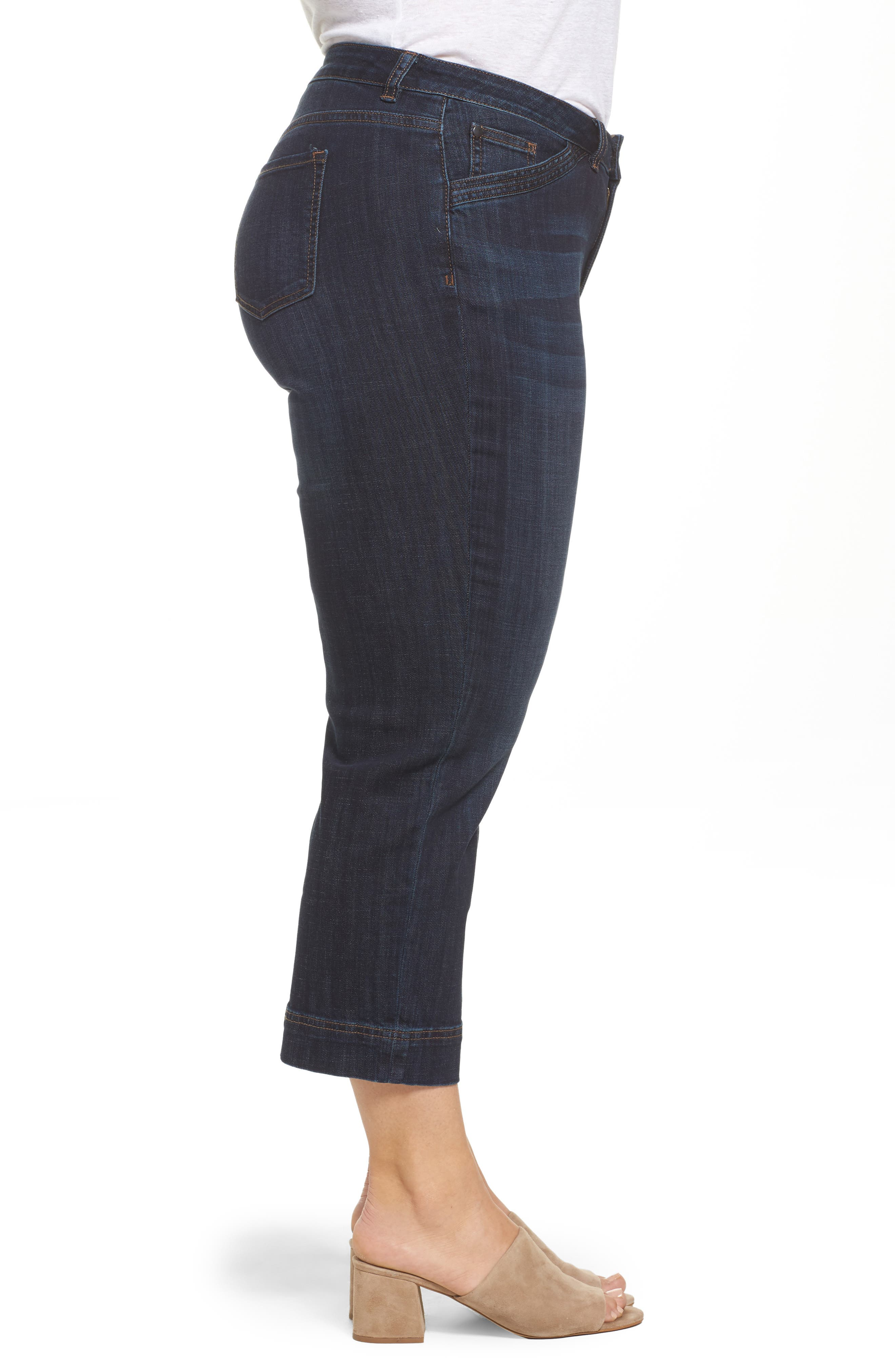 Wide Leg Crop Jeans,                             Alternate thumbnail 3, color,                             Dark Wash
