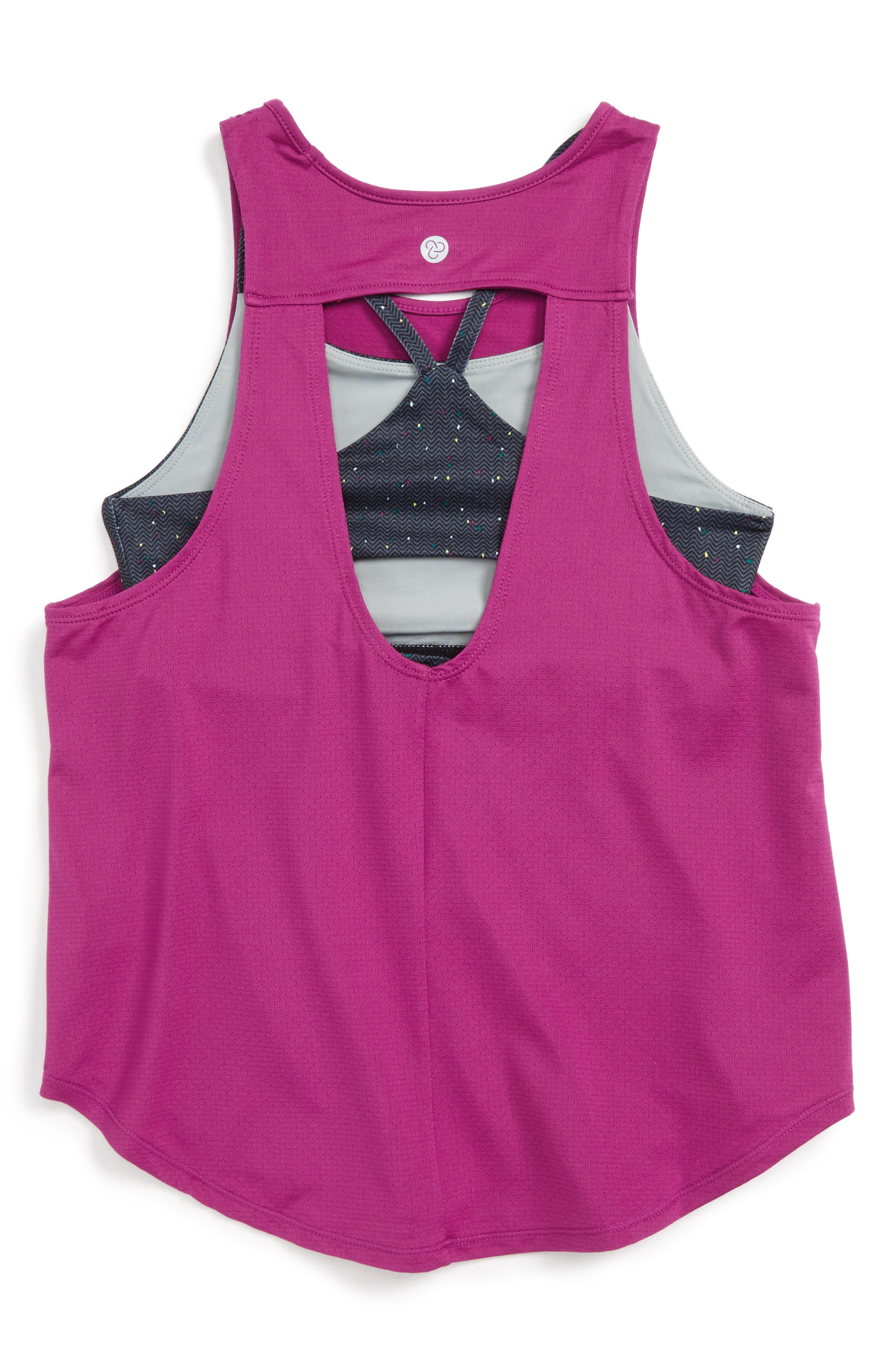 Double Layer Tank,                             Alternate thumbnail 2, color,                             Pink Wild Aster