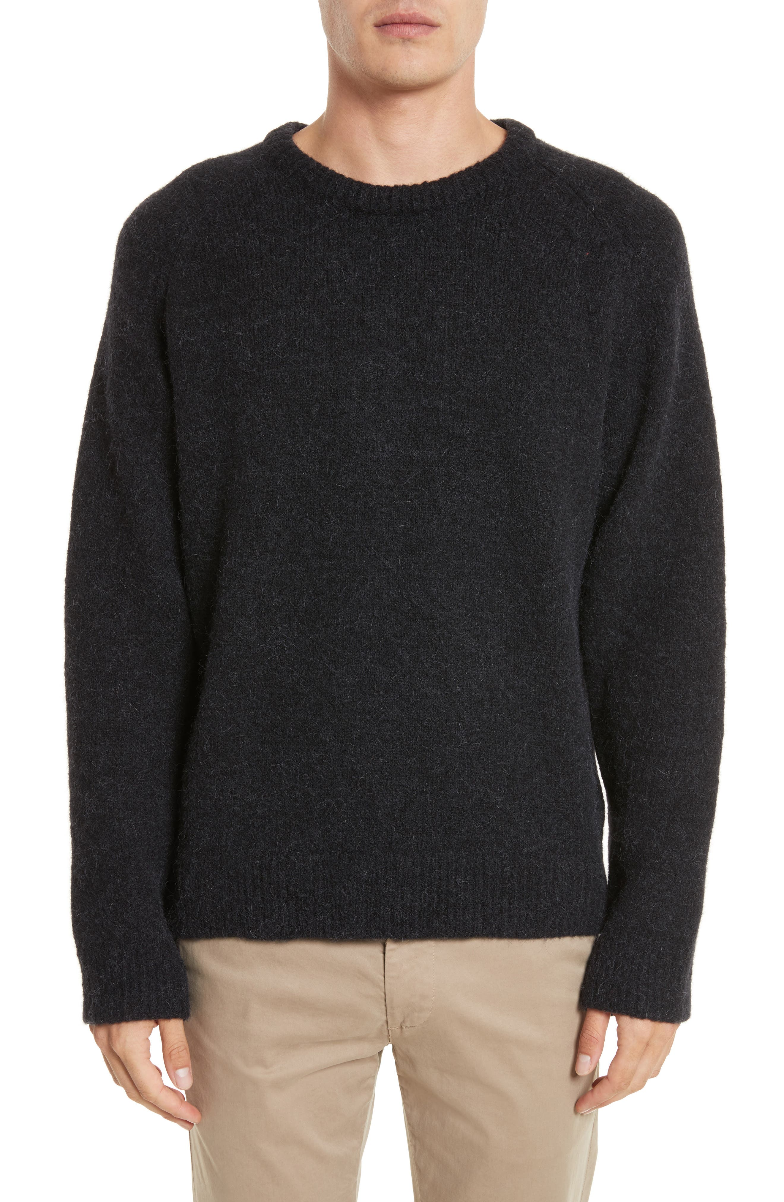 Wool Blend Crewneck Sweater,                             Main thumbnail 1, color,                             Black