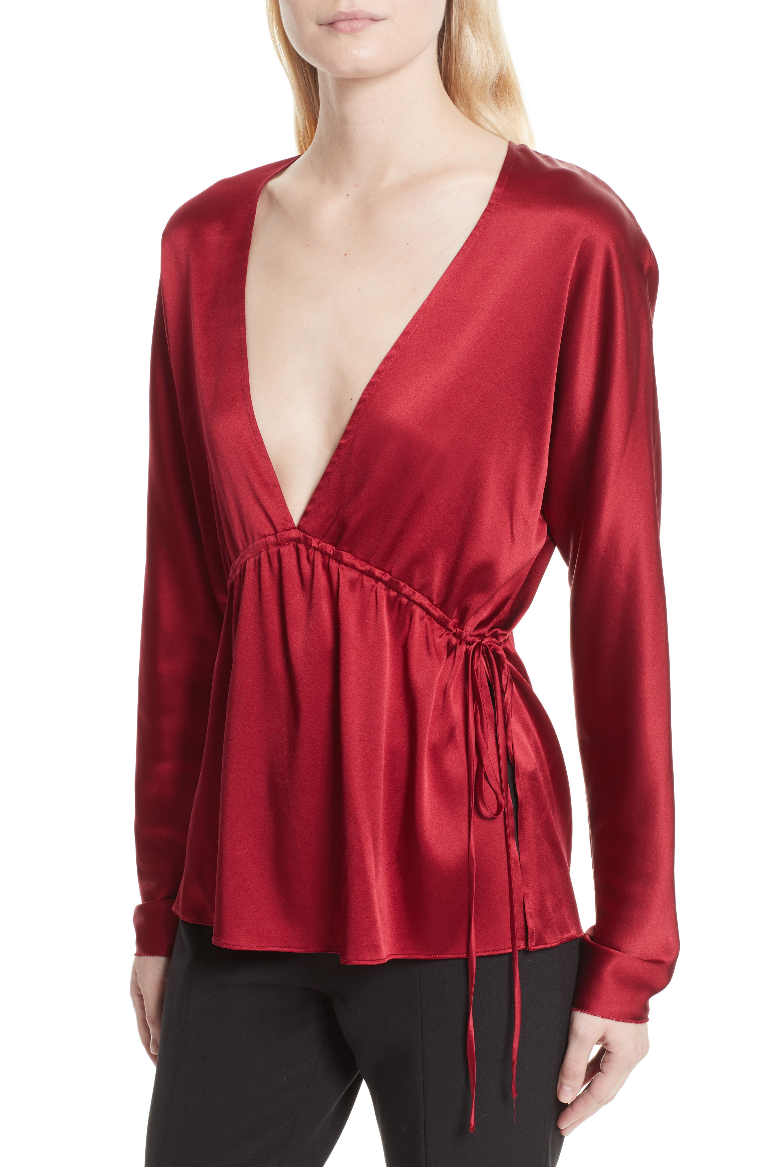 Ophelie Stretch Silk Blouse,                             Alternate thumbnail 4, color,                             Cayenne