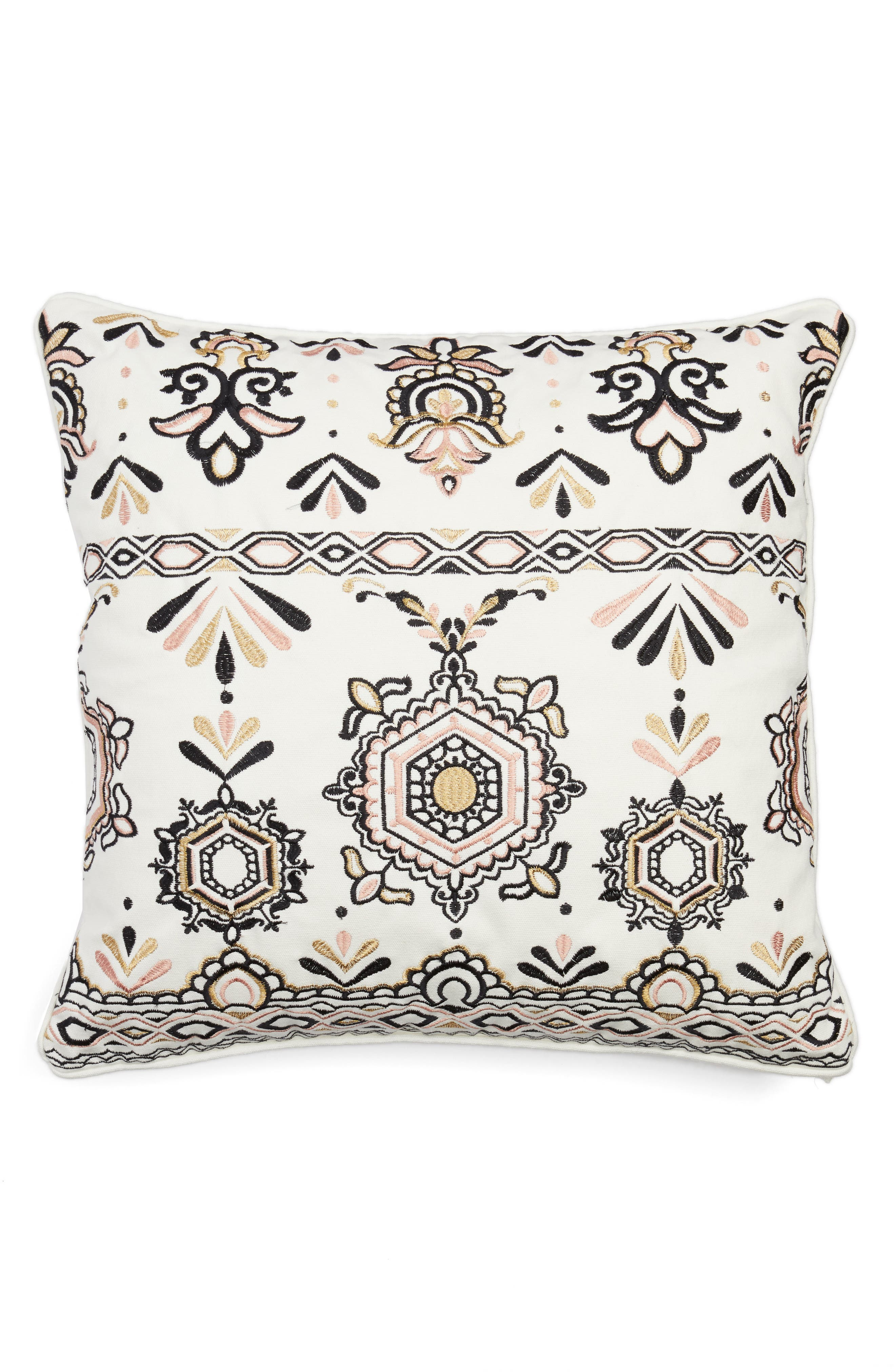 Embroidered Medallion Pillow,                         Main,                         color, White
