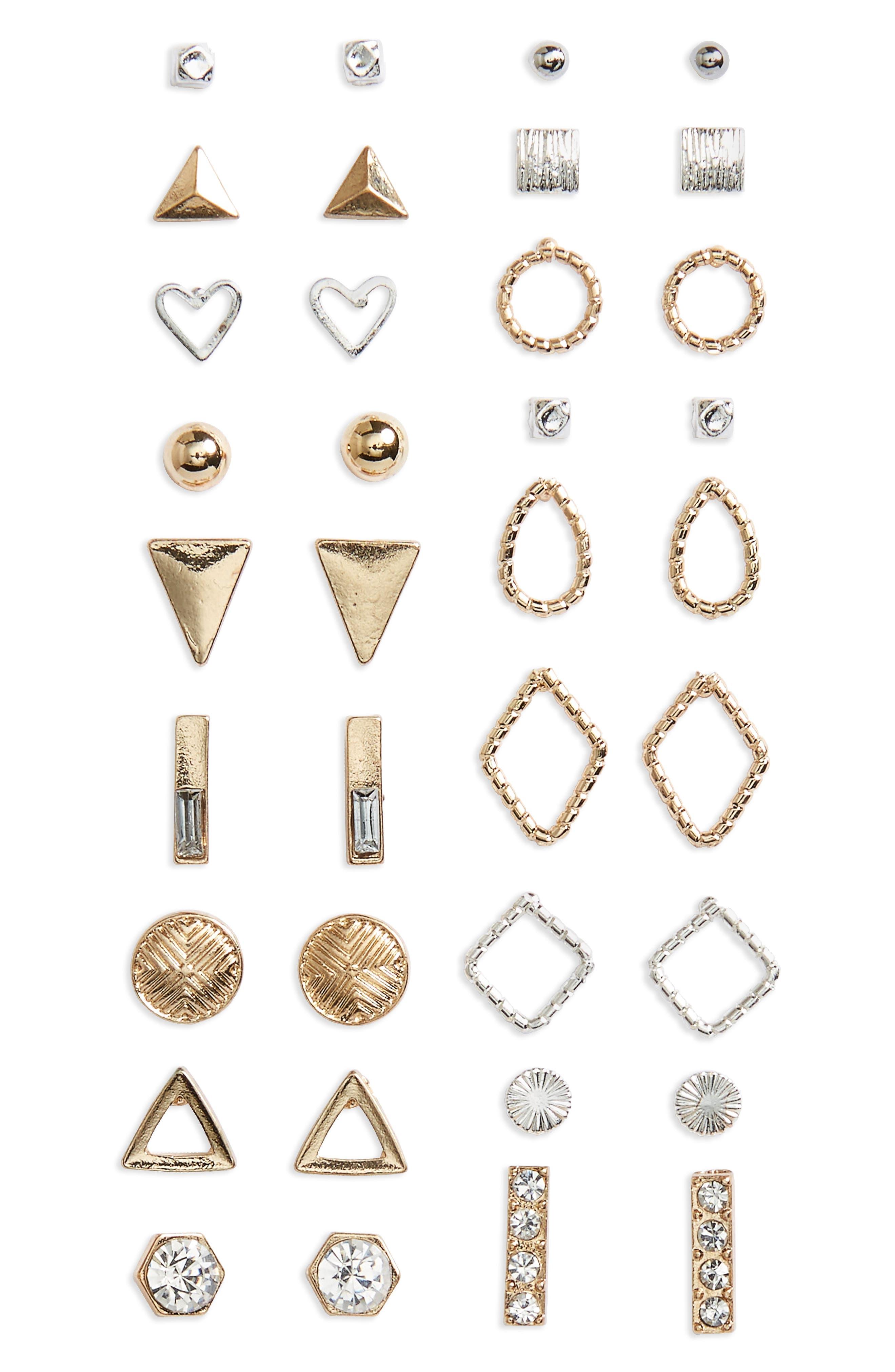 18-Pack Mixed Metal Earrings,                         Main,                         color, Gold Multi
