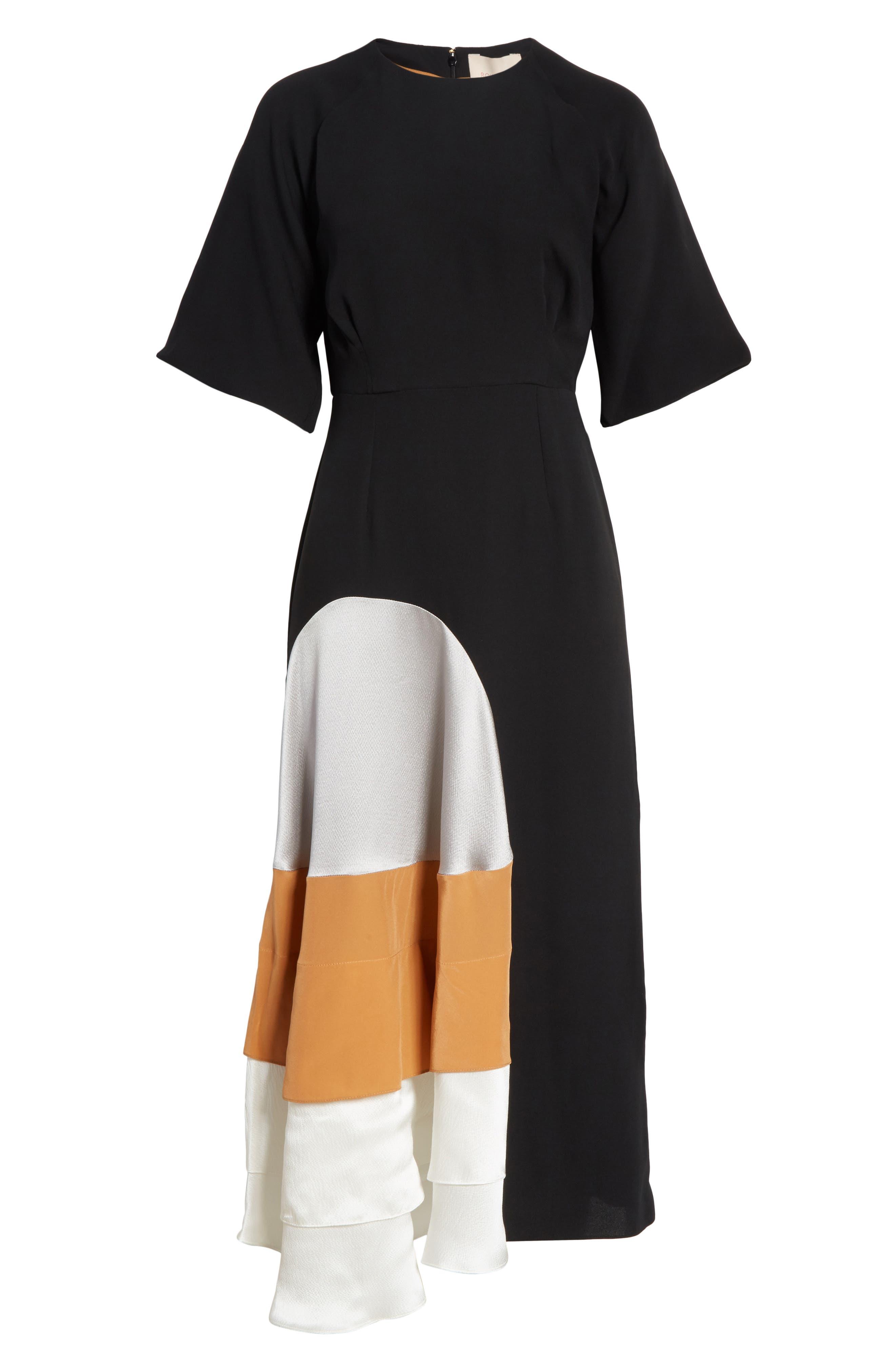 Rauma Silk Dress,                             Alternate thumbnail 7, color,                             Black/ Silver/ Sand/ Ivory
