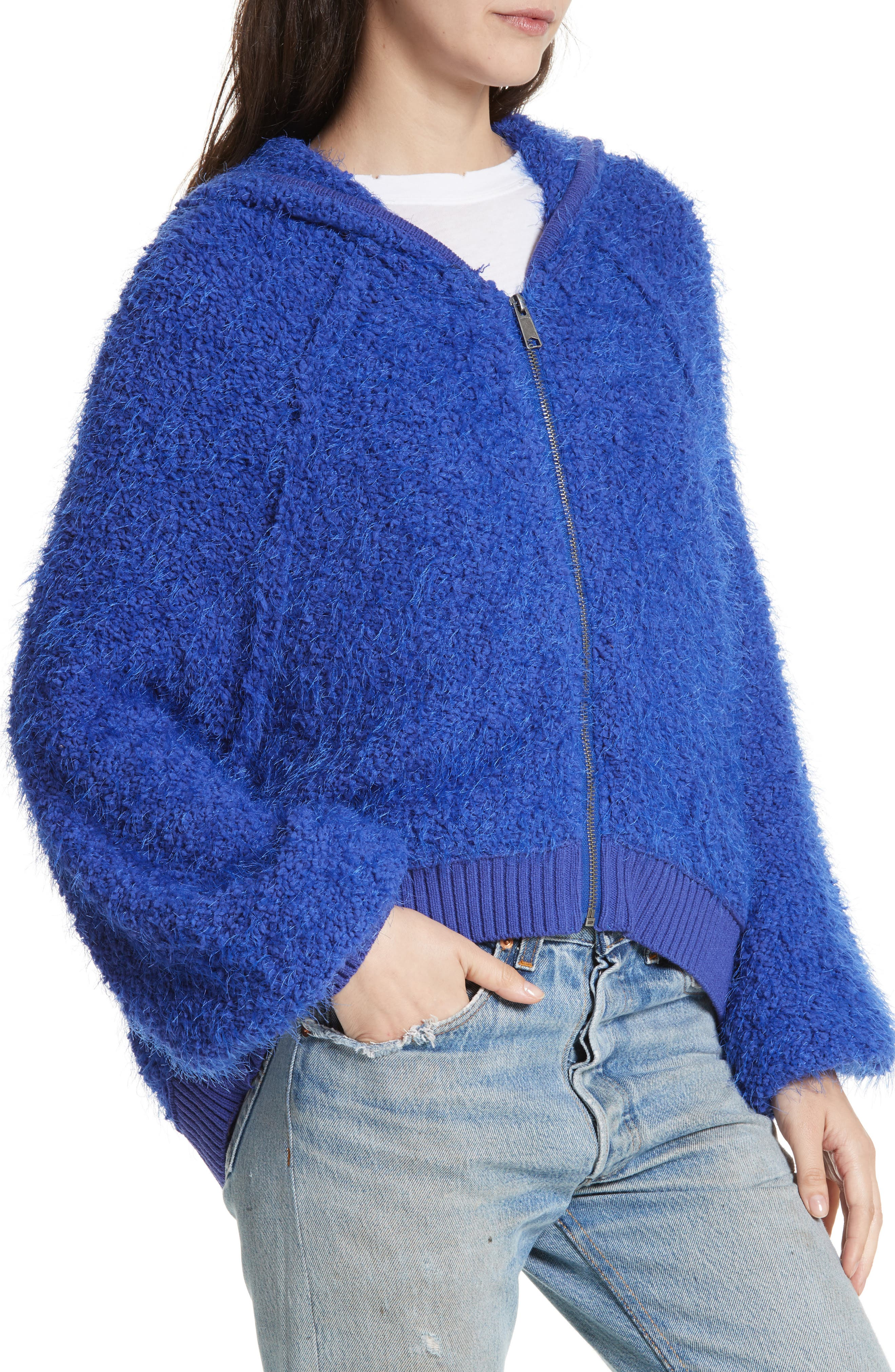 Furry Time Hooded Jacket,                             Alternate thumbnail 4, color,                             Blue