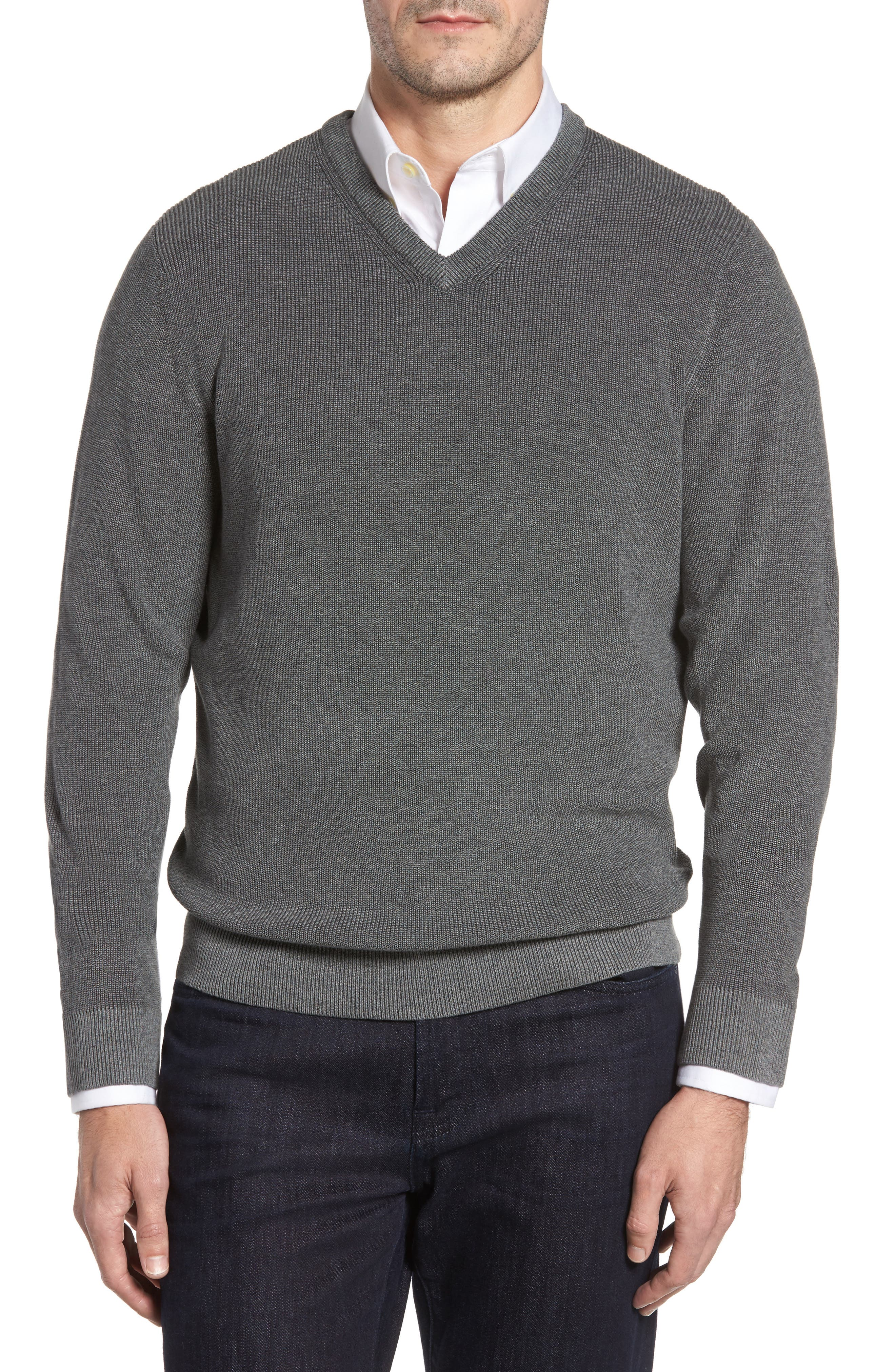 Las Palmas Reversible Sweater,                             Main thumbnail 1, color,                             Charcoal Heather