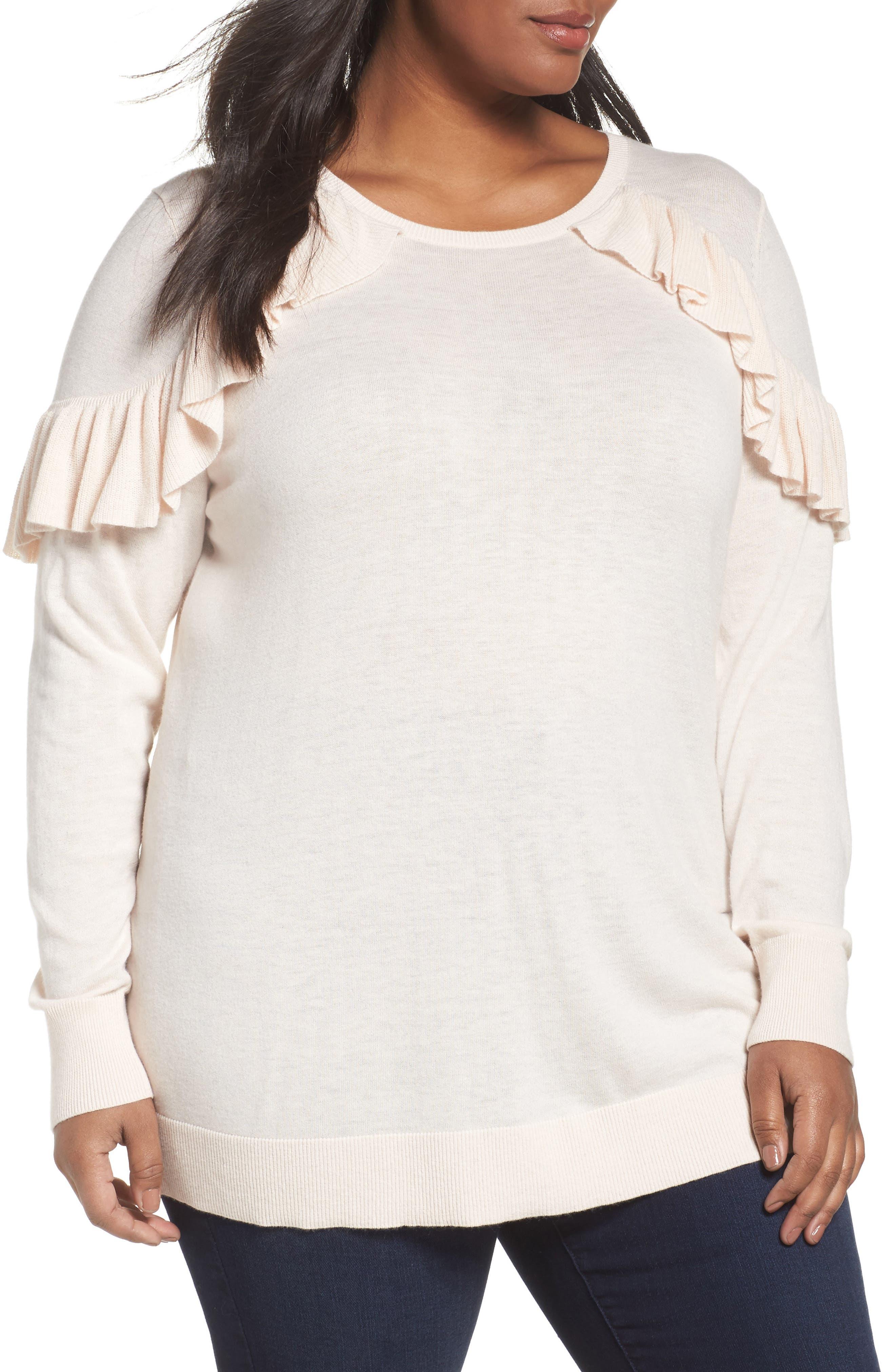 Ruffle Sleeve Sweater,                         Main,                         color, Pink Wood