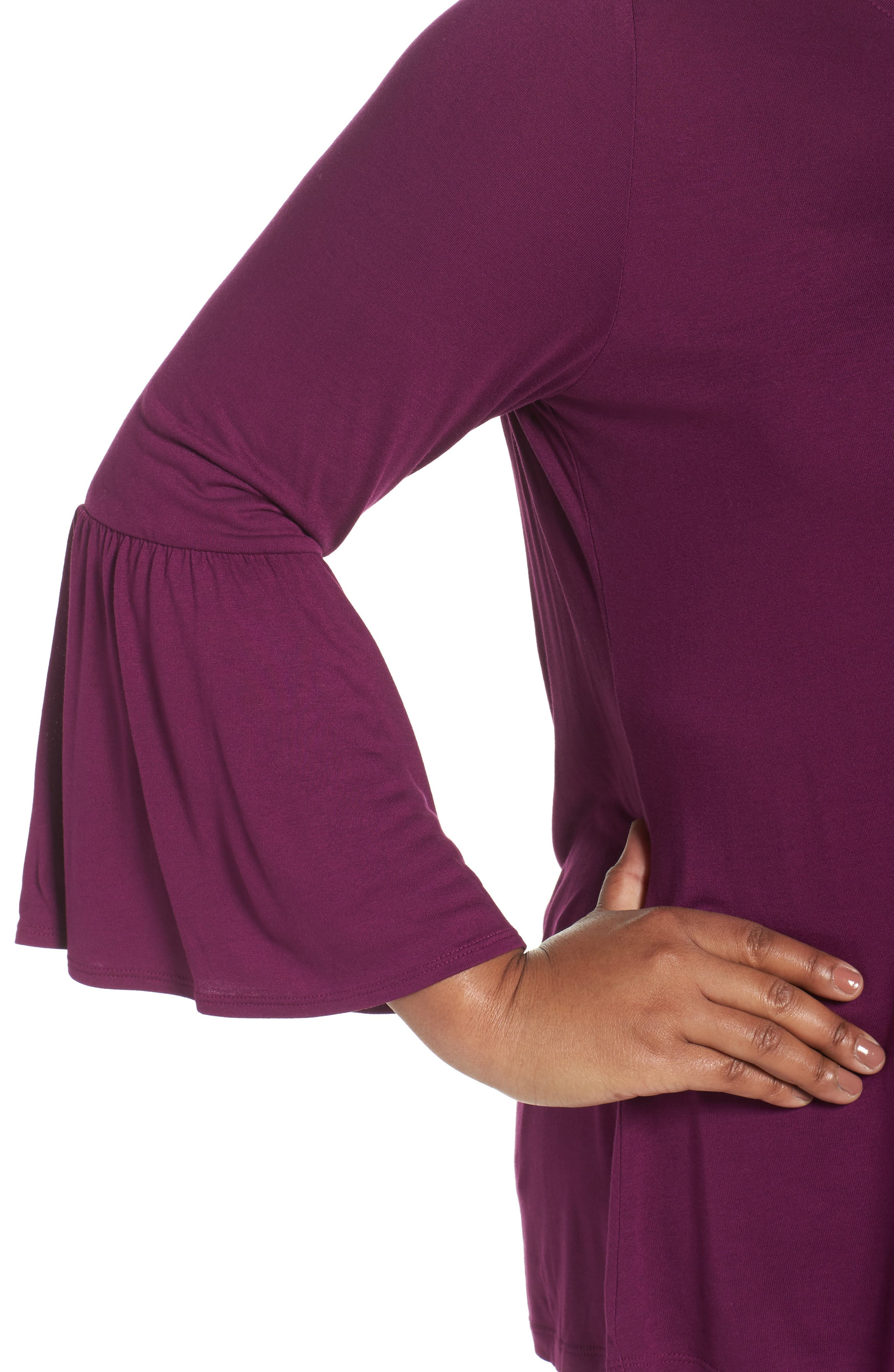 Bell Sleeve Tee,                             Alternate thumbnail 4, color,                             Purple Dark