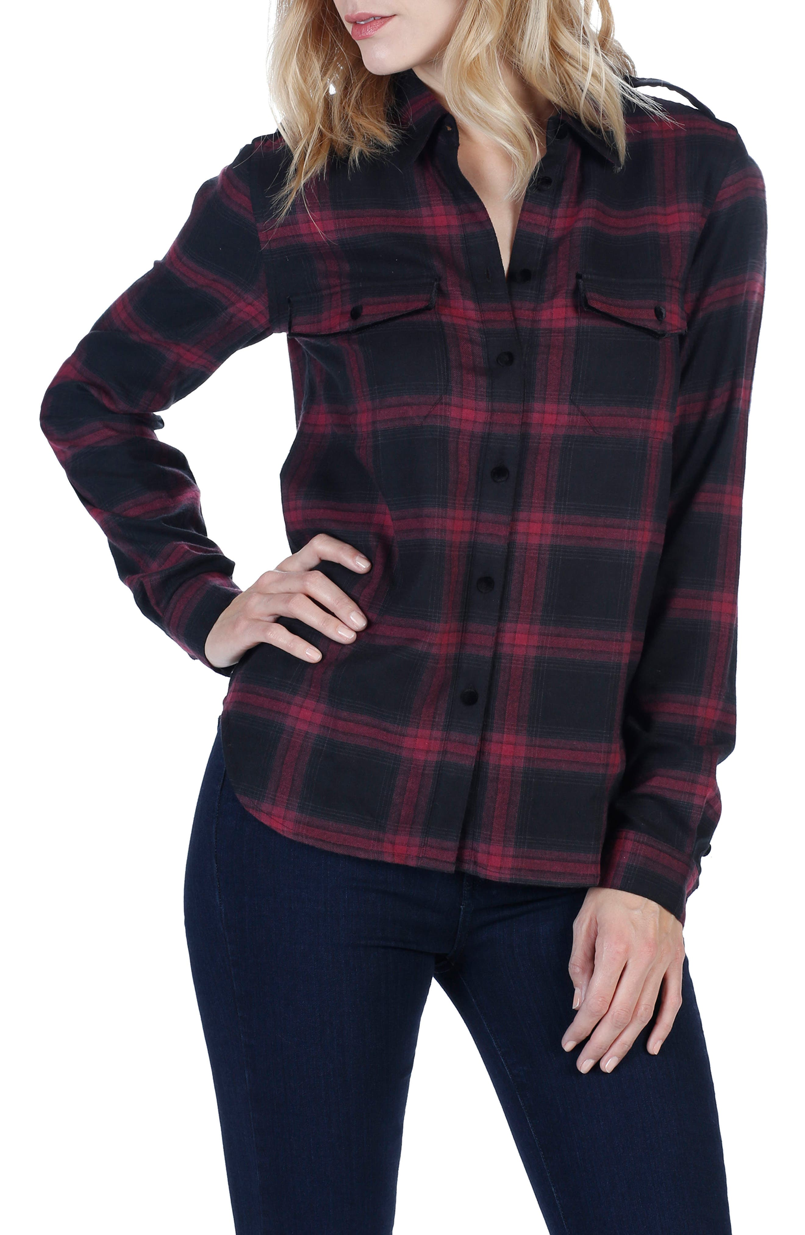 Adilene Plaid Shirt,                             Alternate thumbnail 3, color,                             True Black/ Dark Magenta